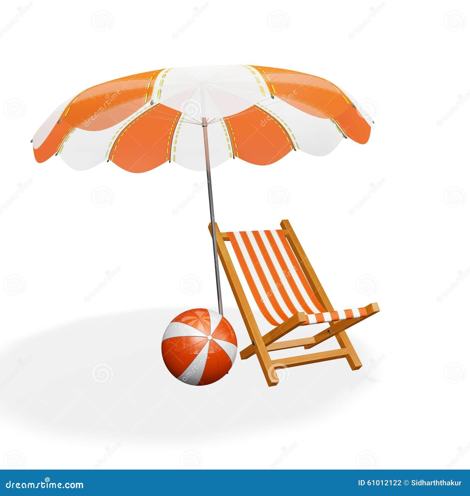 Sonnenschirm strand clipart  Orange Weißer Strand-Ruhesessel-Sonnenschirm Und Ball Stockfoto ...