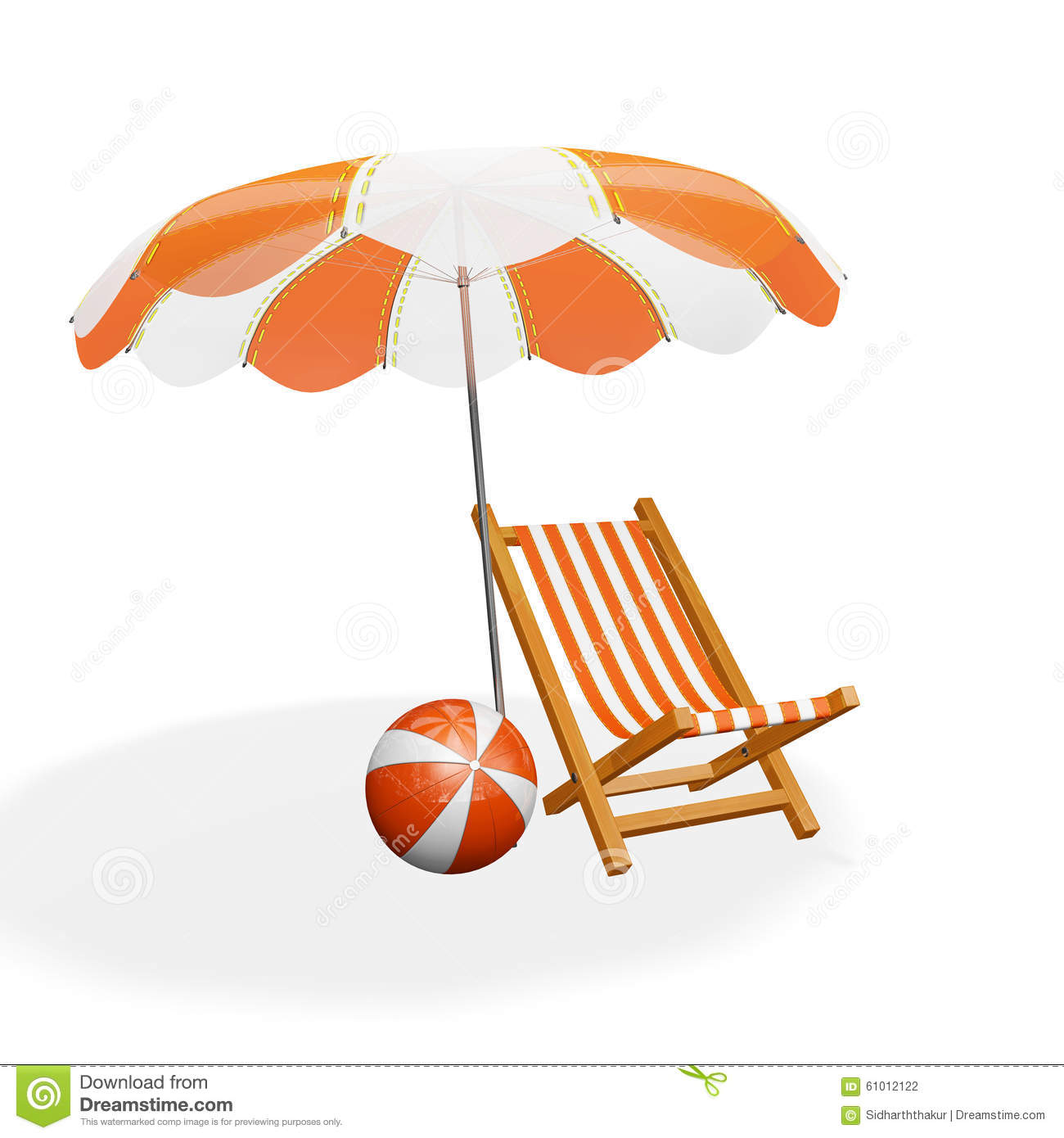 Beach chair and parasol vector illustration stock vector image - Orange White Beach Lounger Parasol And Ball Stock Photo