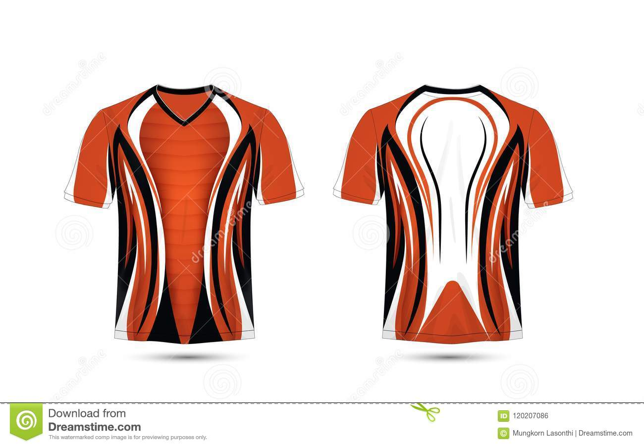 Orange White And Black Layout E Sport T Shirt Design Template Stock