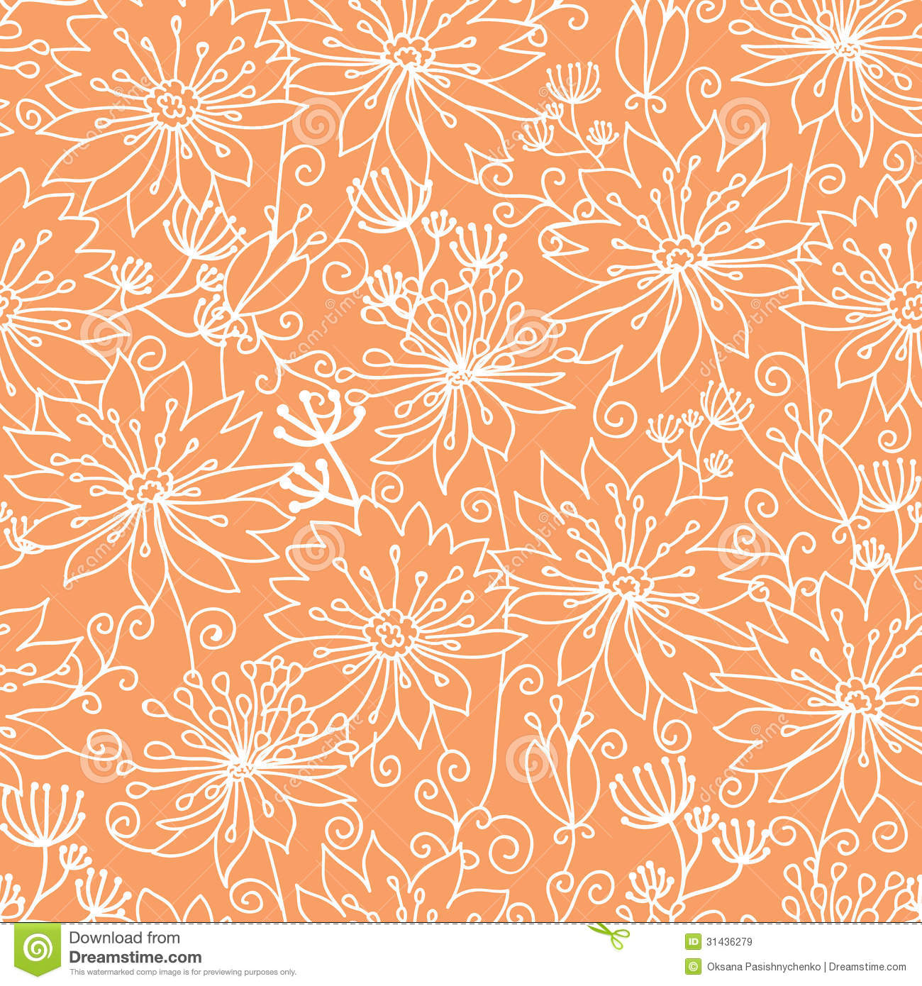 Orange And White Lineart Flowers Seamless Pattern Stock
