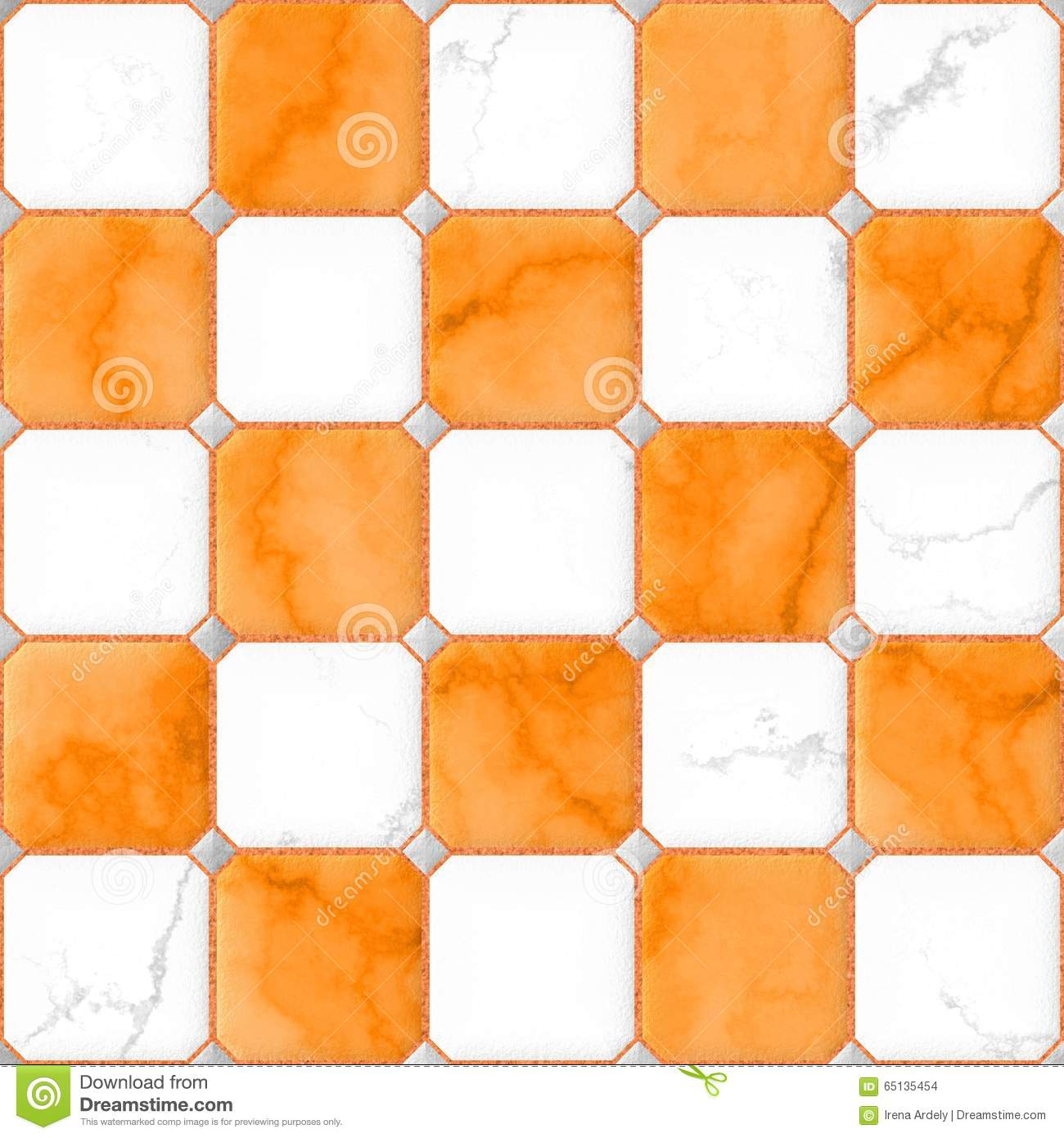 Orange And White Marble Square Floor Tiles With Gray