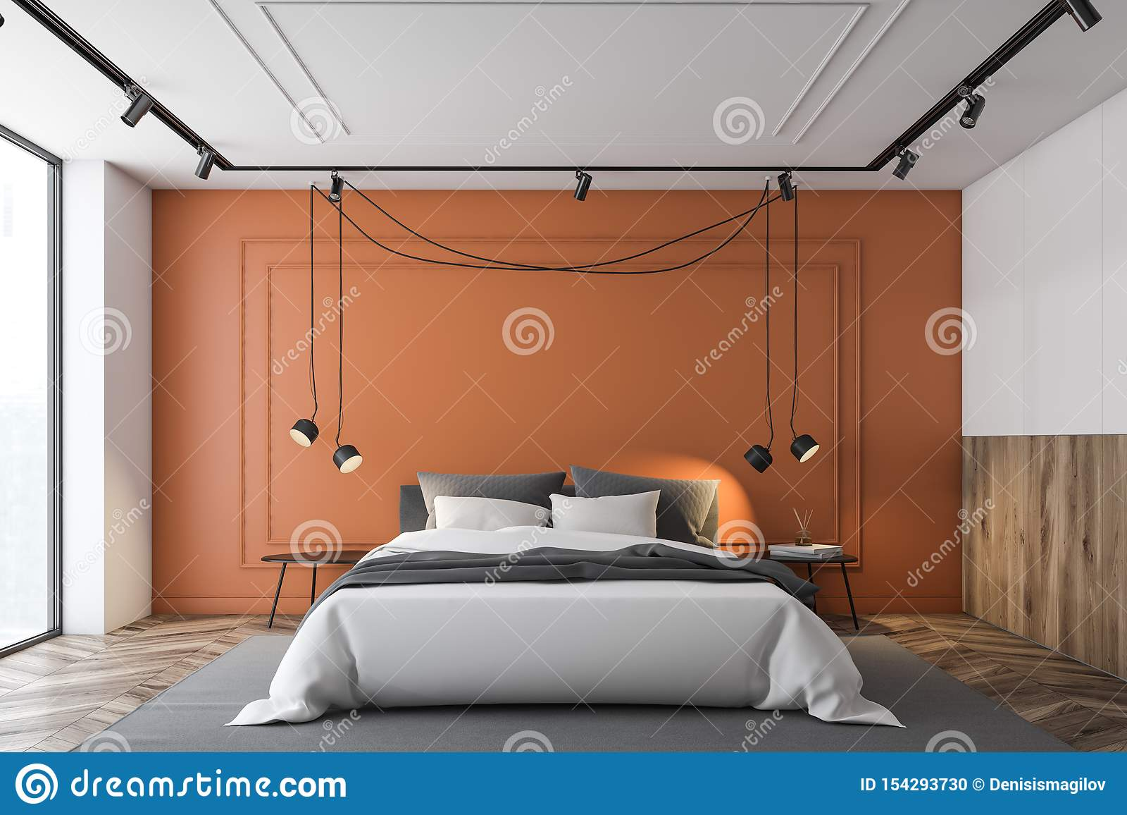 Orange And White Master Bedroom Interior Stock Illustration Illustration Of Architecture Interior 154293730