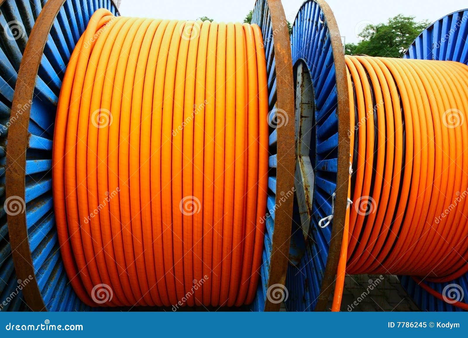 Orange Wires On Metal Spools Royalty