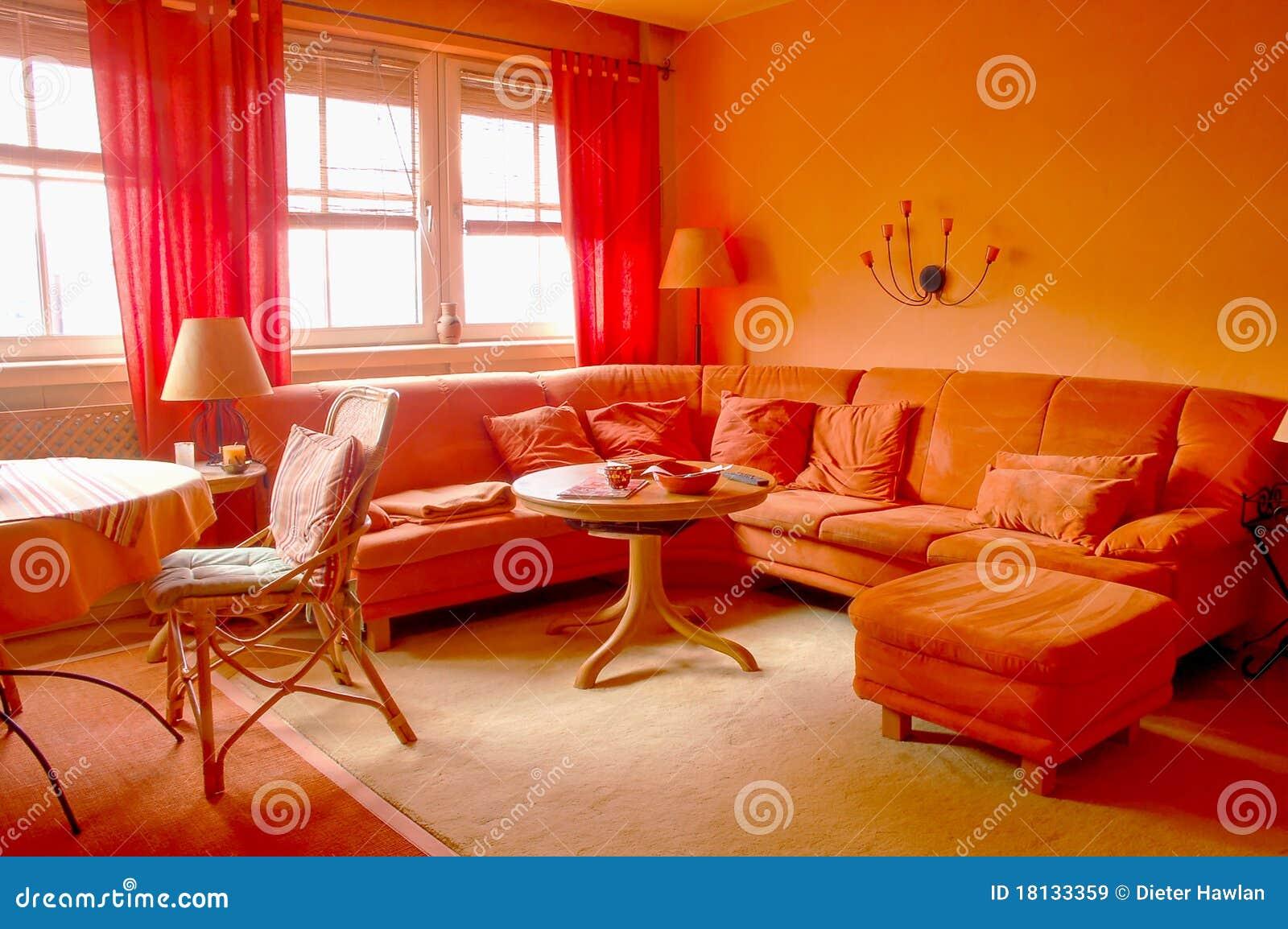 Orange Wohnzimmer stockbild. Bild von leer, lebensstil - 18133359