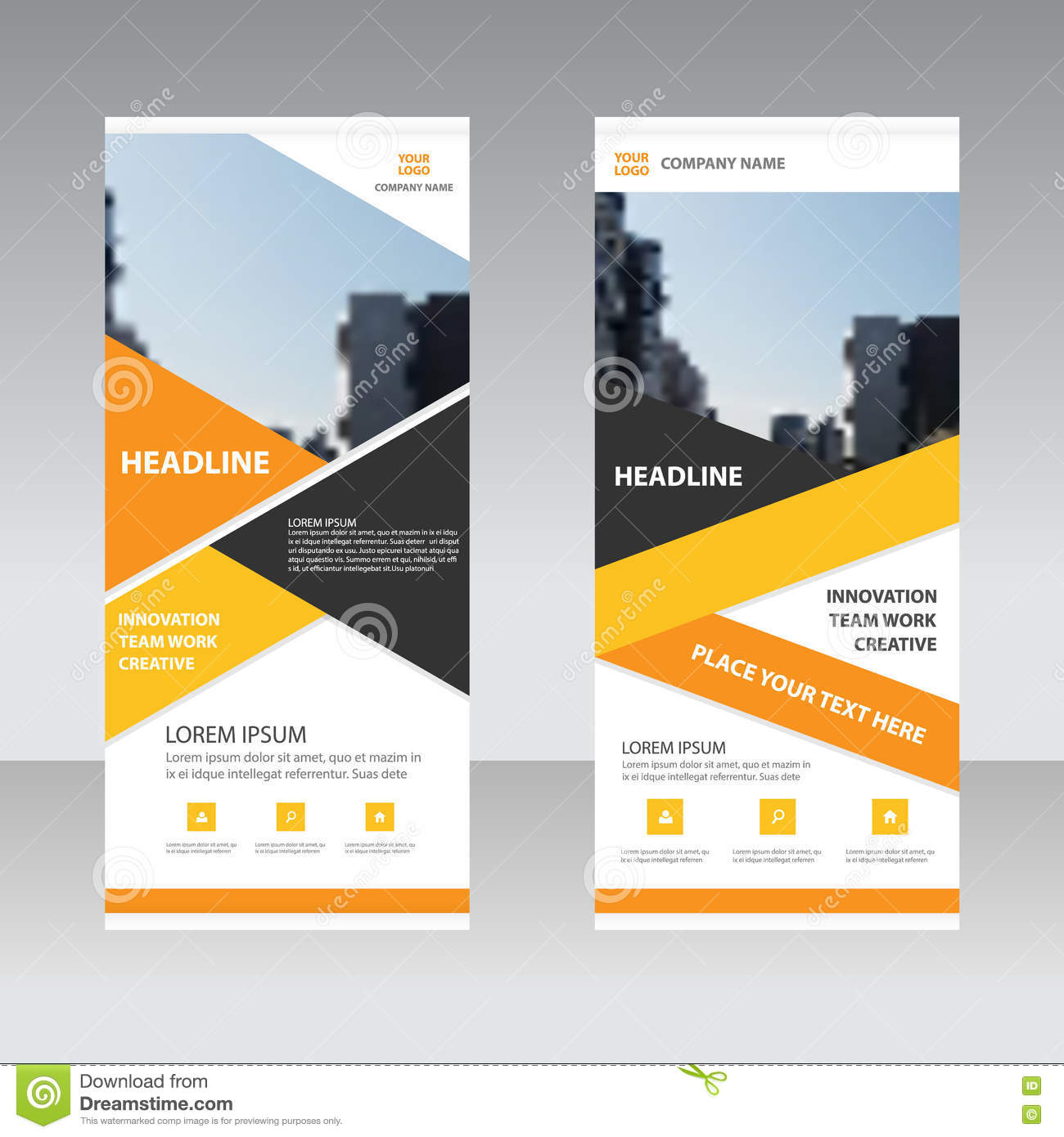 orange yellow business roll up banner flat design template