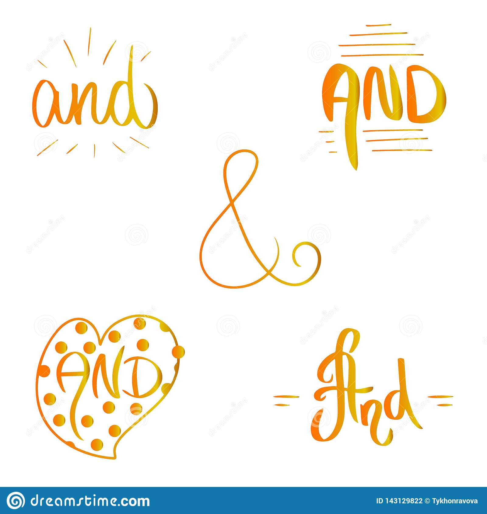 Orange yellow gradient Catch word And. Ampersand vector illustration hand drawn brush style in heart border and frames.