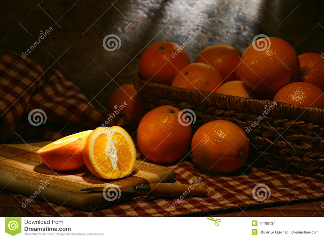 Oranges In Rustic Country Old Style Still Life Royalty