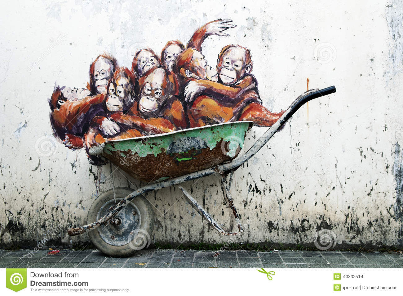 Orangutans painting ernest zacharevic editorial stock for Mural 1 malaysia