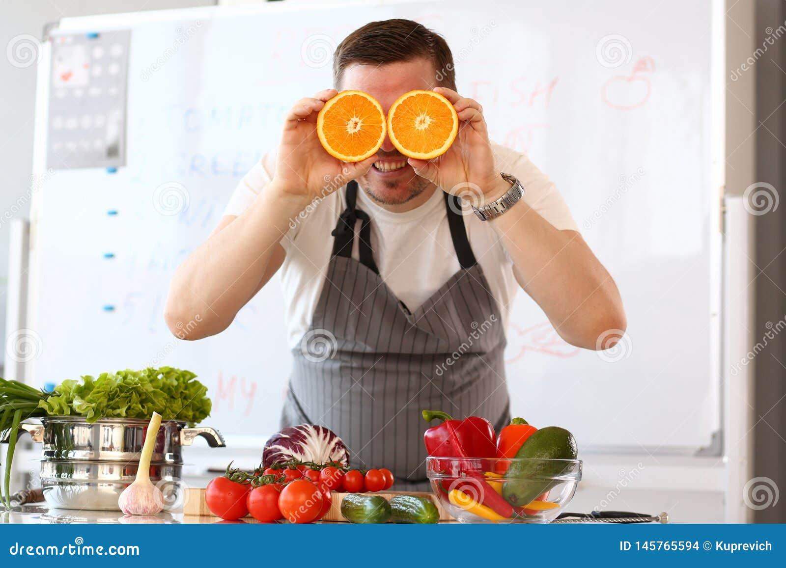 Oranje de Citrusvruchtenoog van chef-kokvlogger showing comic