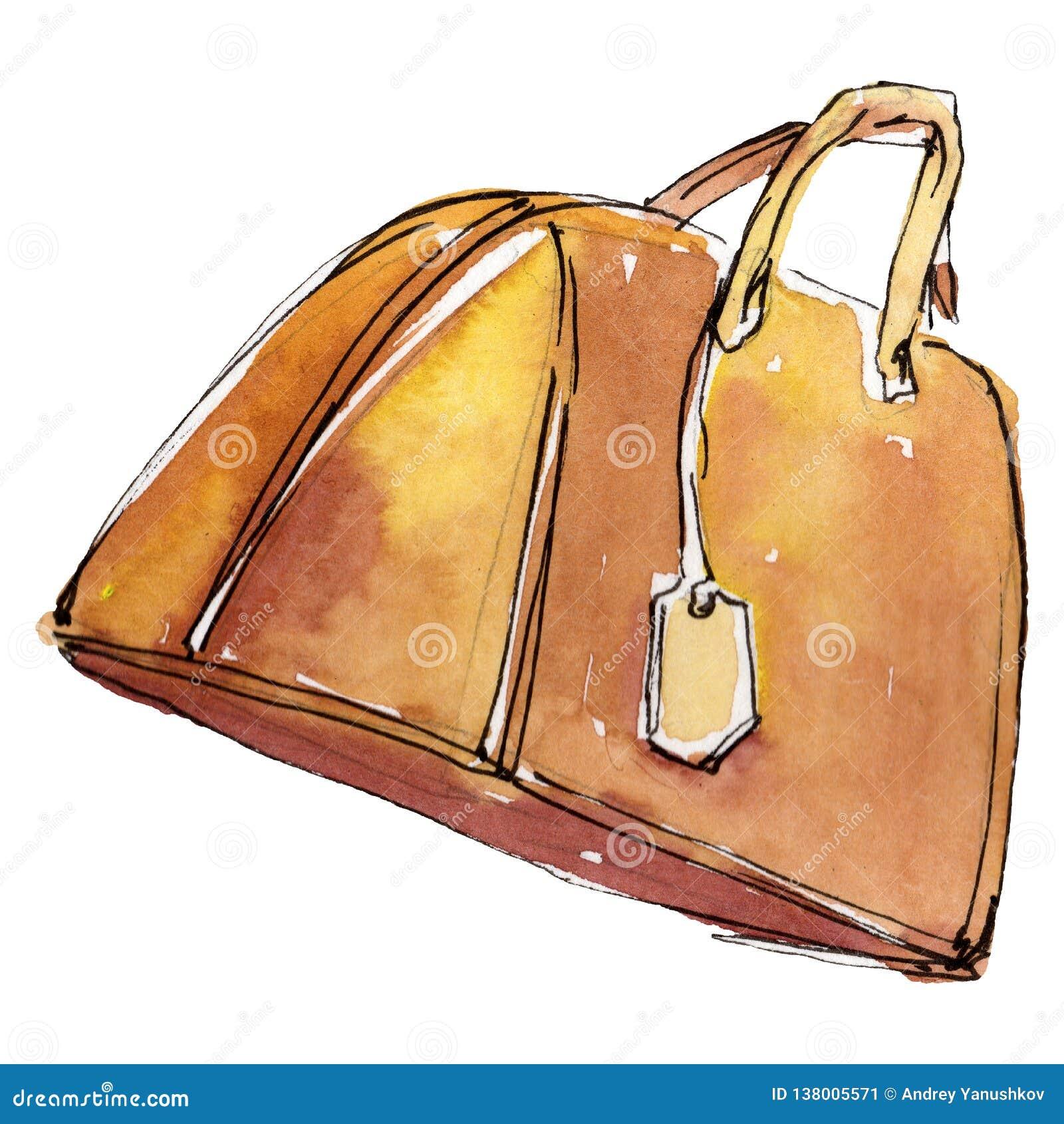Oranje de glamourillustratie van de handtasschets in een waterverfstijl geïsoleerd element Watercolour achtergrondreeks