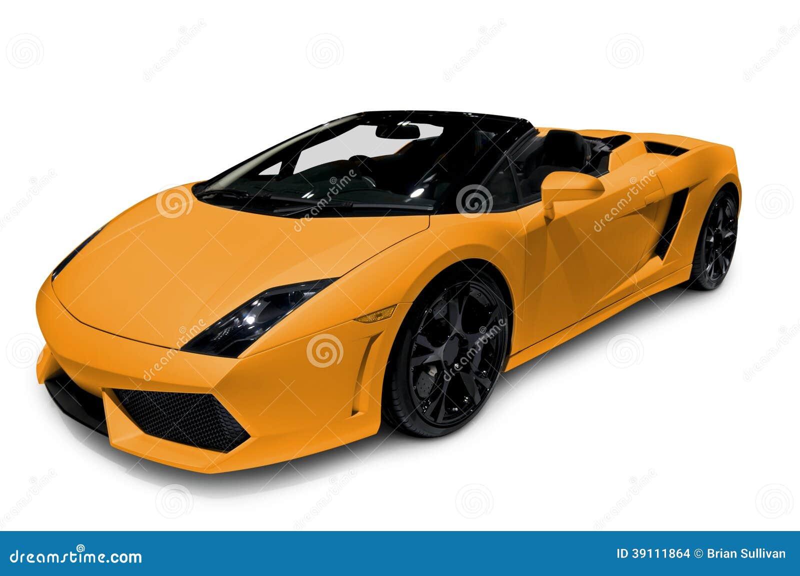 Oranje die Open tweepersoonsauto op wit wordt geïsoleerd