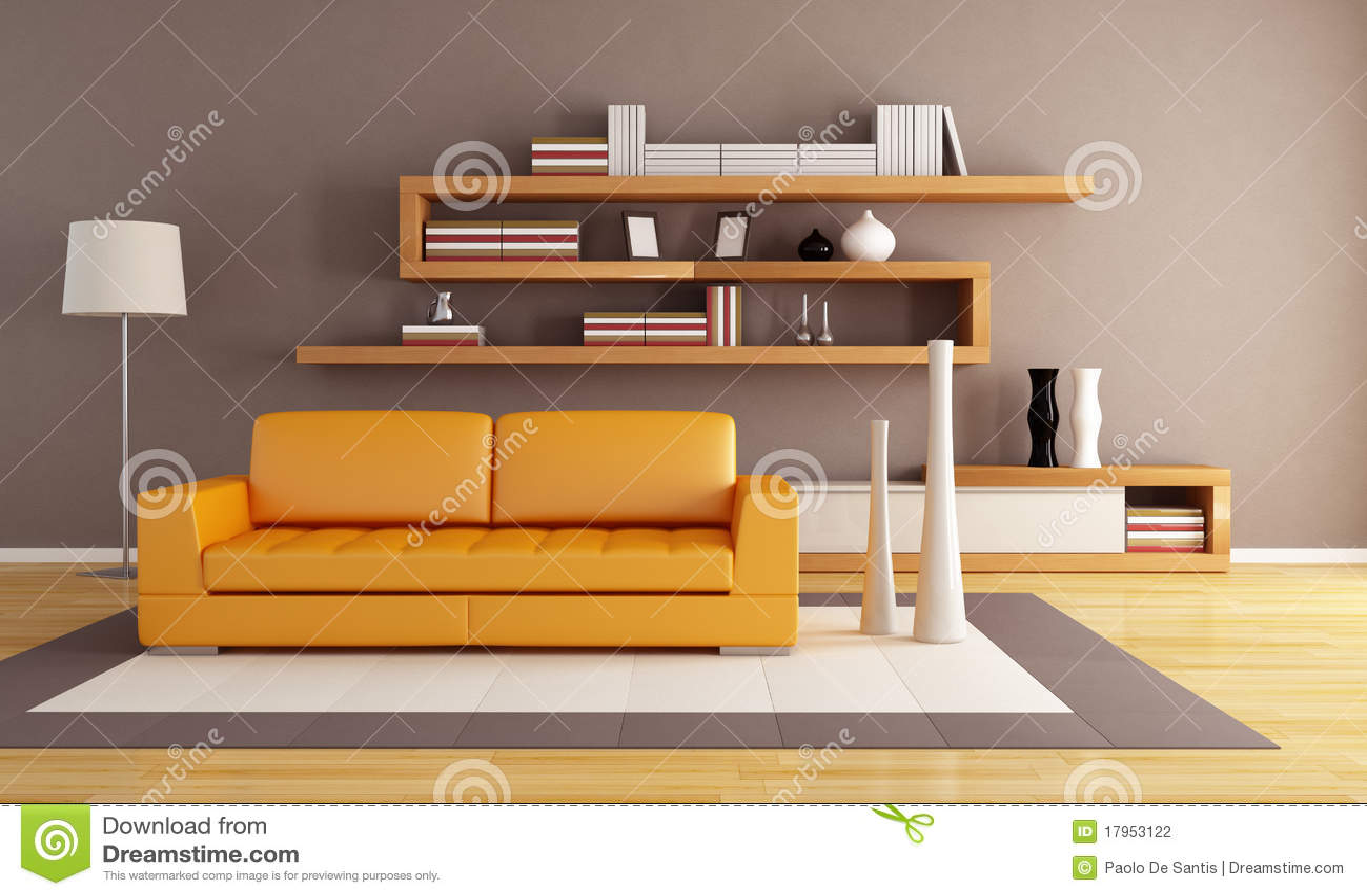 Oranje en bruine woonkamer stock fotografie   afbeelding: 17953122