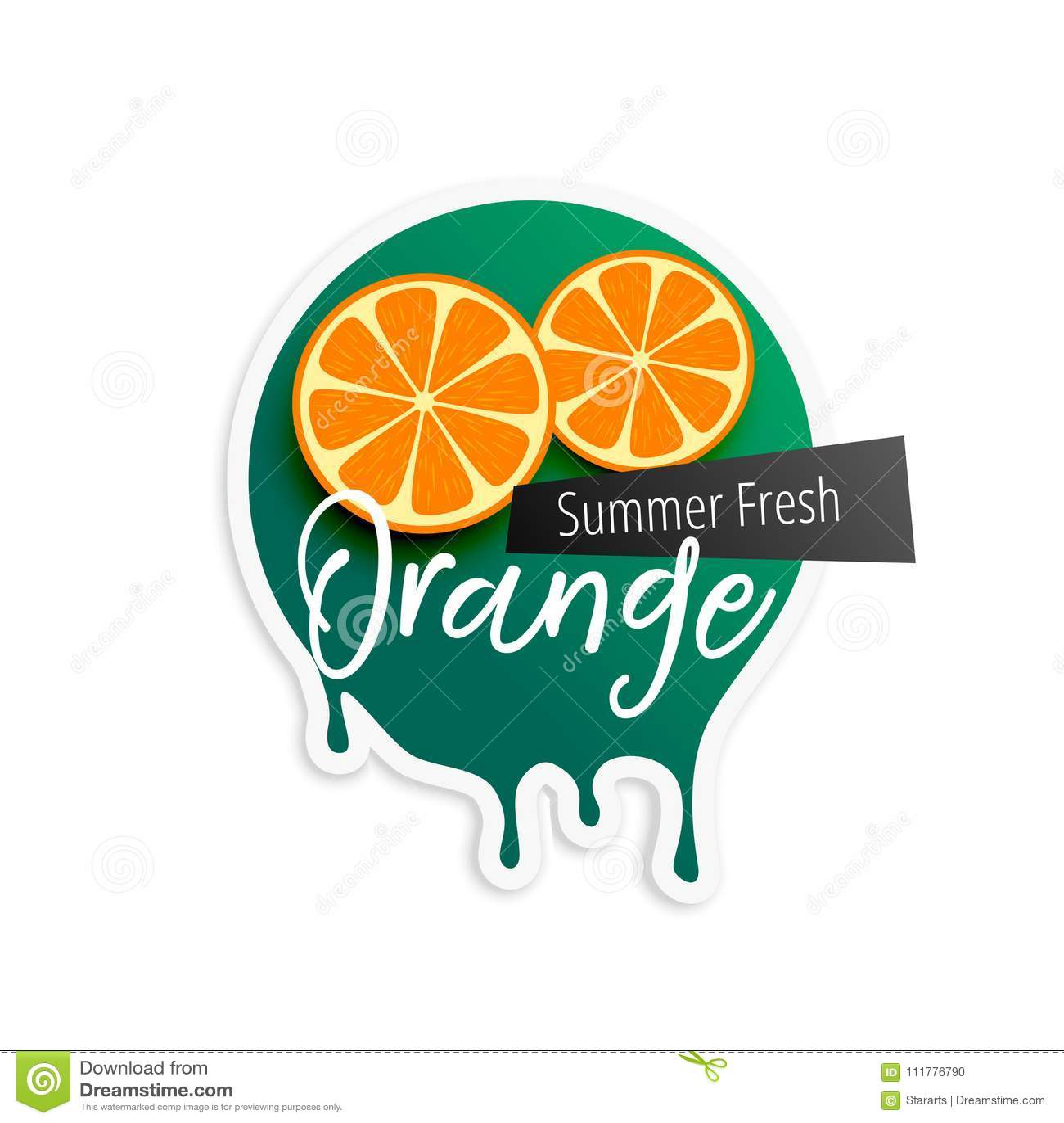 Oranje fruitetiket voor zomer