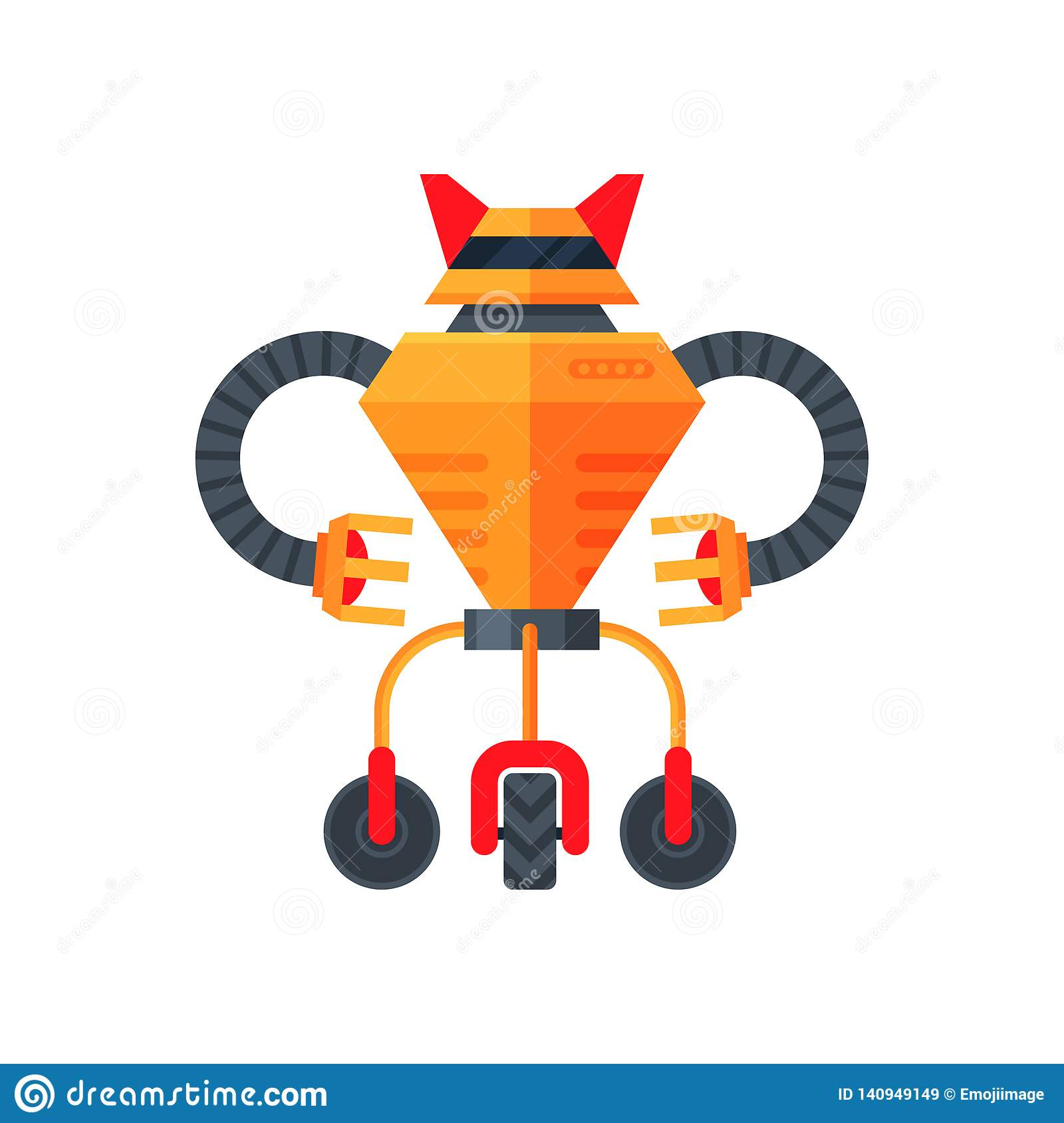 Oranje futuristische transformator van drie wielen Humanoidrobot Androïde metaal Kunstmatige intelligentie Vlak vectorpictogram