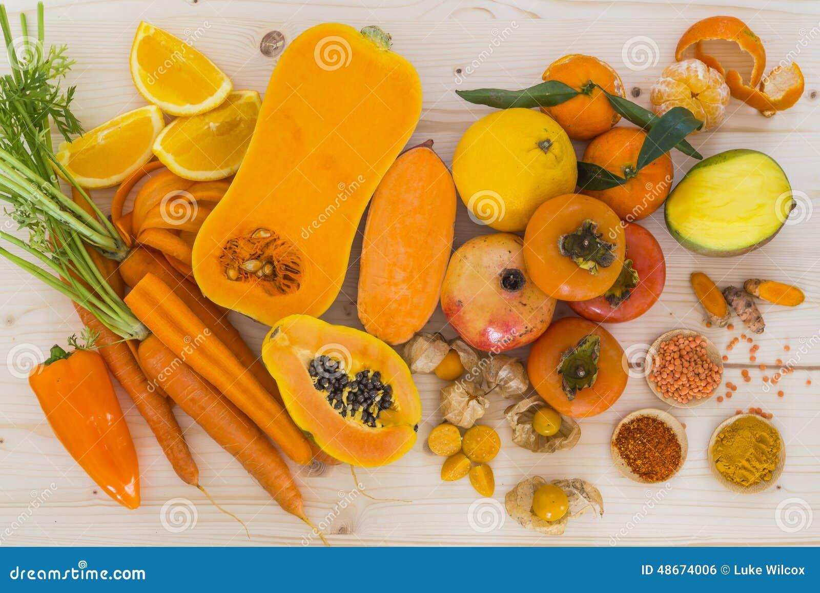 Oranje groenten en fruit