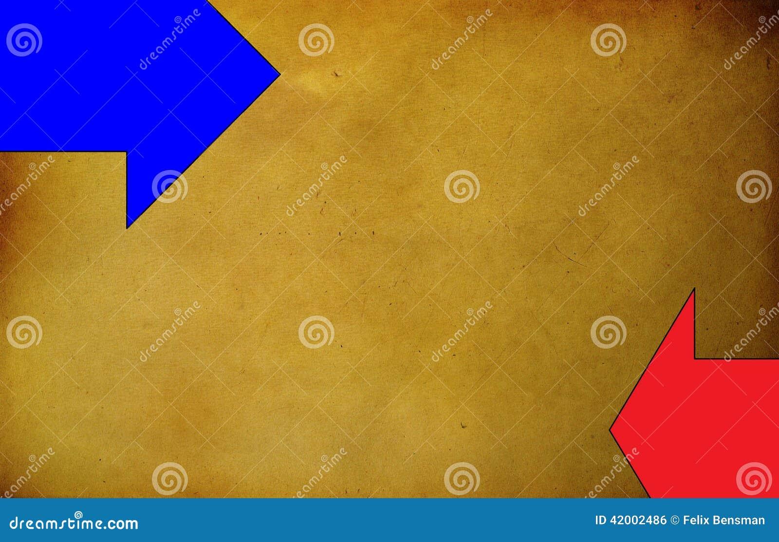 Oranje grungeachtergrond met twee horizontale pijlen