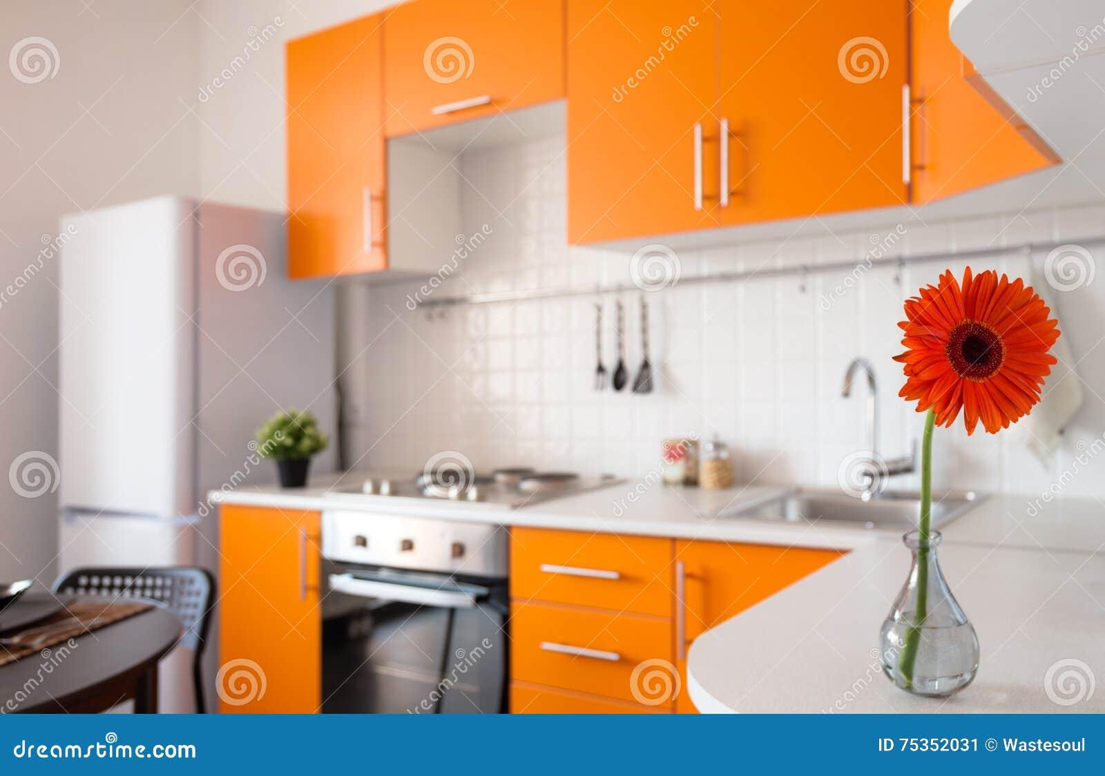 Oranje keuken met bloem stock foto   afbeelding: 75352031