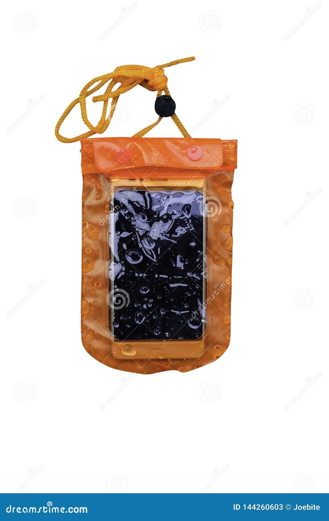 Oranje waterdicht mobiel die telefoongeval op witte achtergrond wordt geïsoleerd Pvc-de ritssluitingszak beschermt mobiele telefo