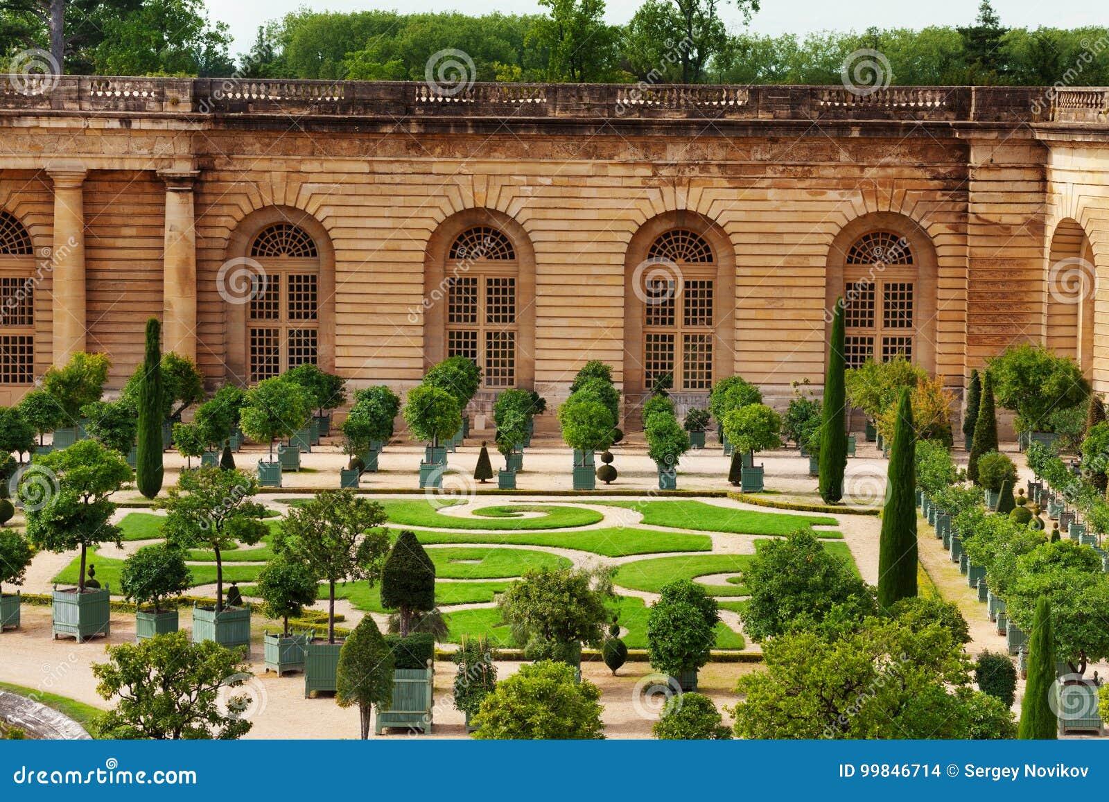 Oranjerie Parterre In Tuin Van Versailles Frankrijk Stock Foto