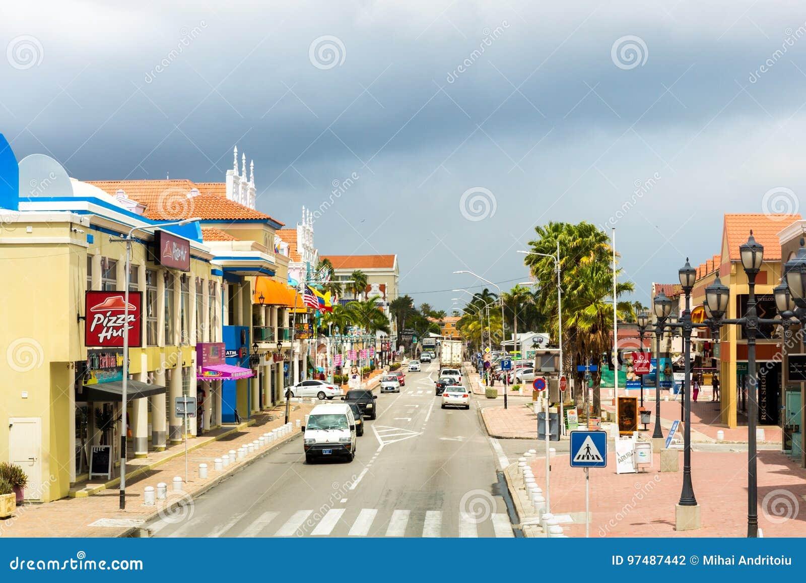 Oranjestad, boulevard del centro di Aruba