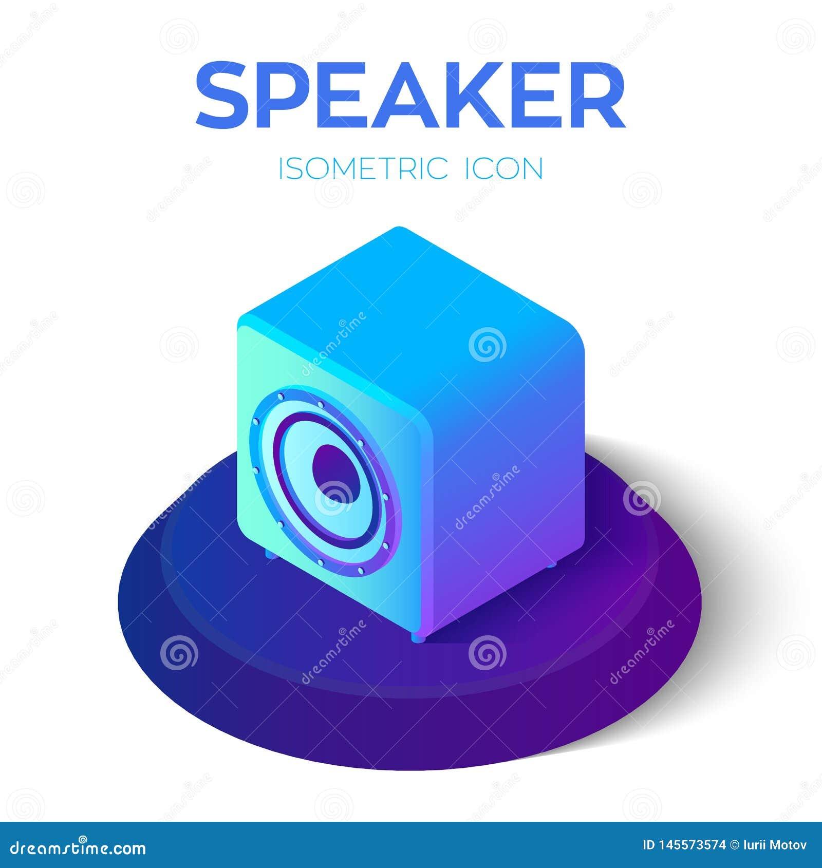 Orateur Ic?ne isom?trique acoustique du haut-parleur 3D Cr?? pour le mobile, Web, d?cor, produits d impression, application Perfe