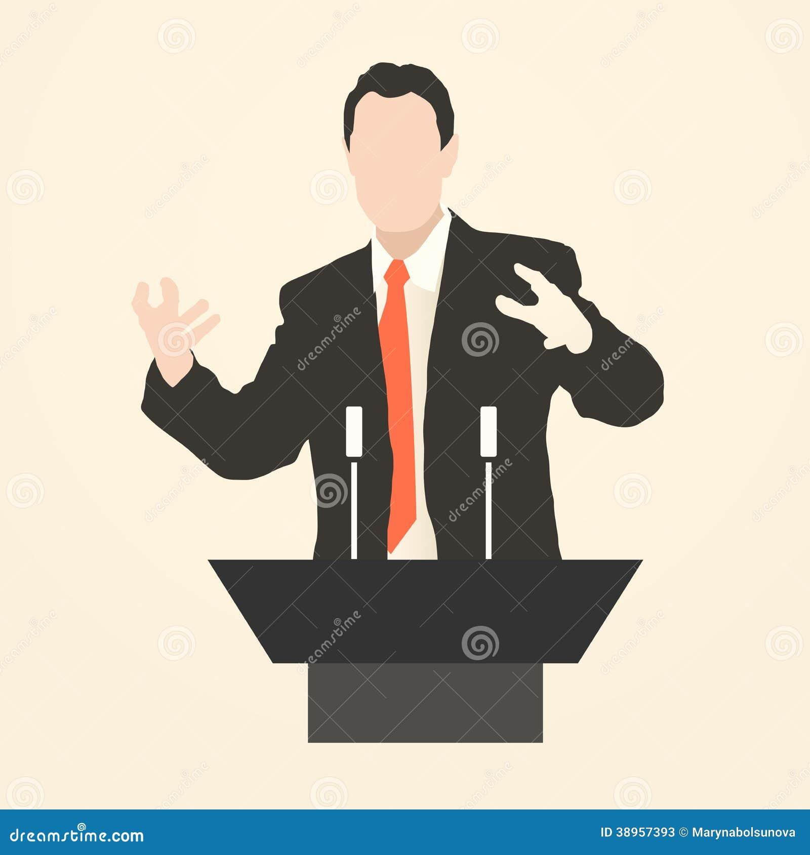 Orator Speaking From Tribune Stock Illustration - Image: 38957393