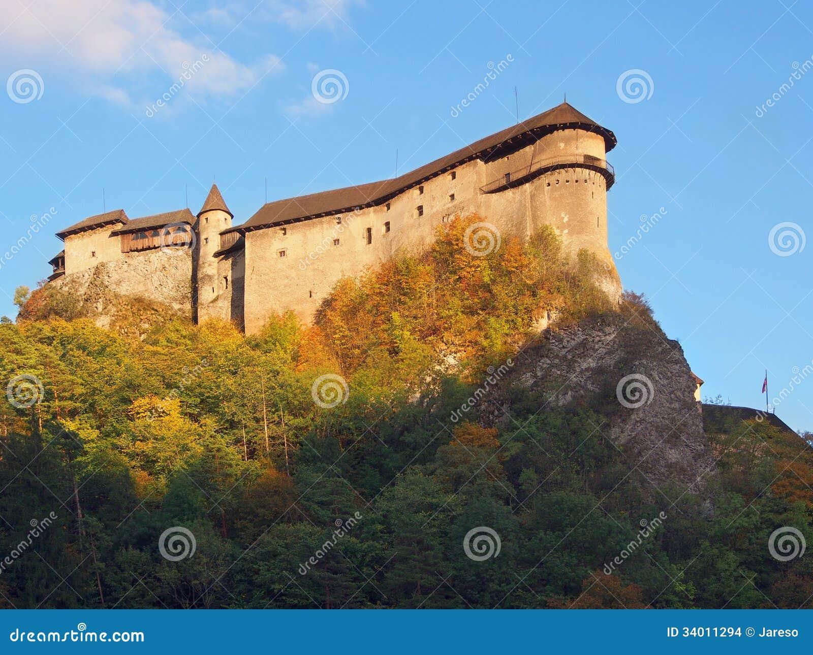 Orava Castle at sundown during autumn