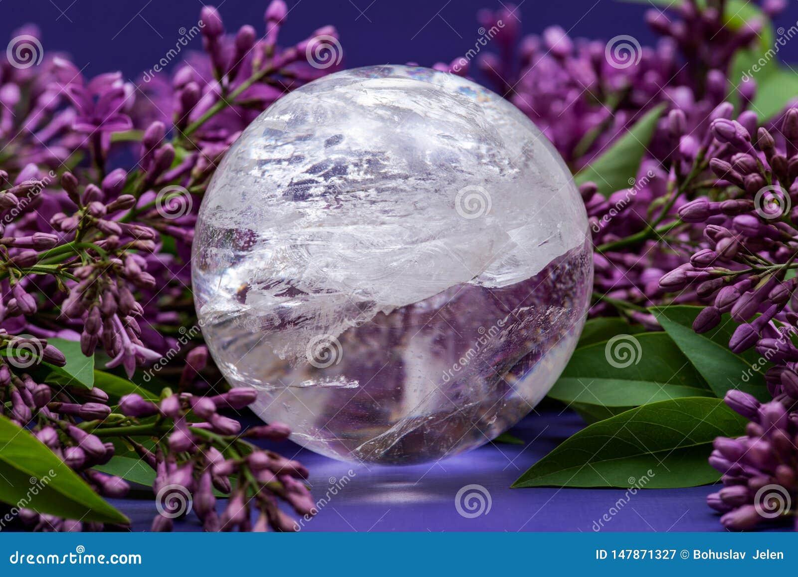 Orb f?r kristall f?r sf?r f?r Lemurian frik?ndkvarts som magisk omges av den purpurf?rgade lila blomman