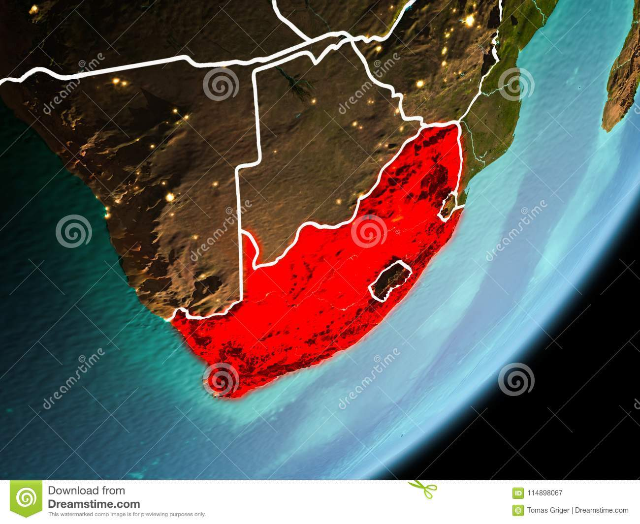 Orbit view of South Africa