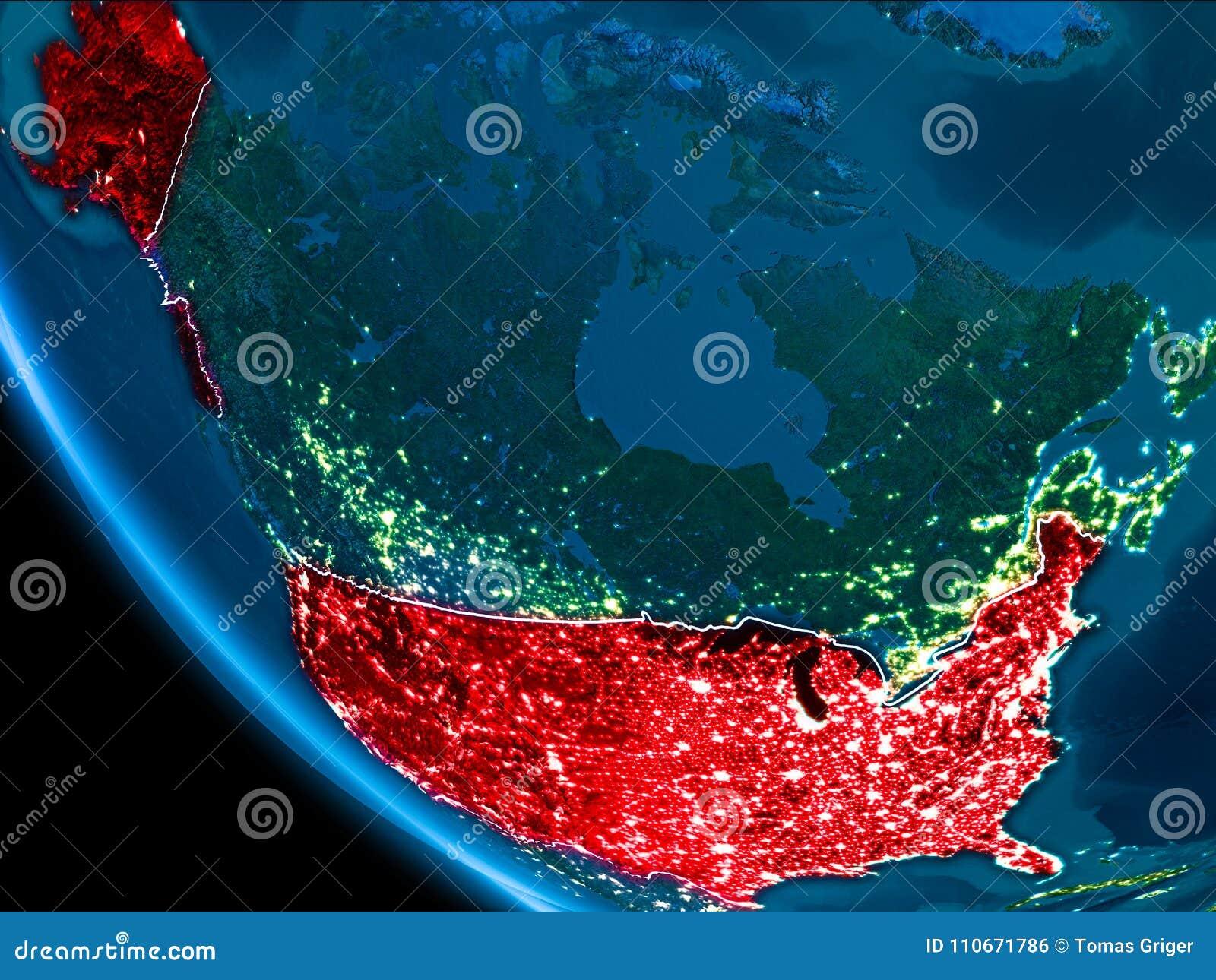 Map Of Usa At Night.Orbit View Of Usa At Night Stock Illustration Illustration Of City