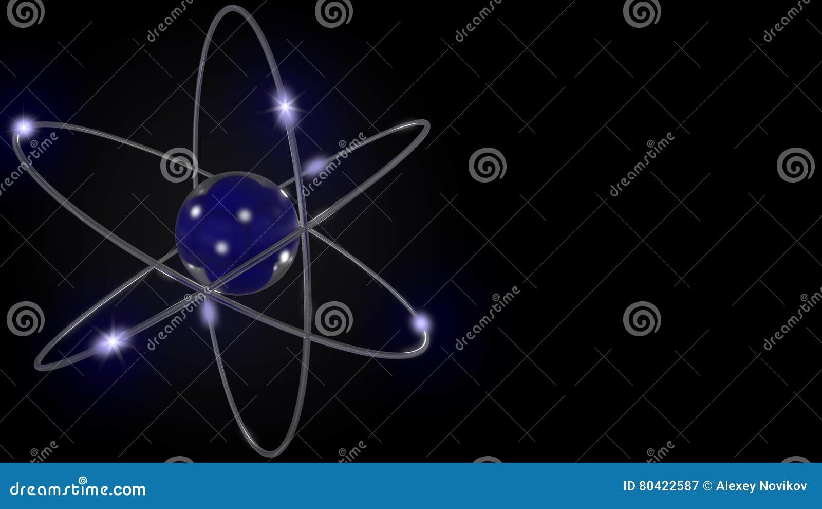 Orbite stilizzate blu dell elettrone e dell atomo Fondo scientifico con spazio libero per le iscrizioni Nucleare, fisica, atomica