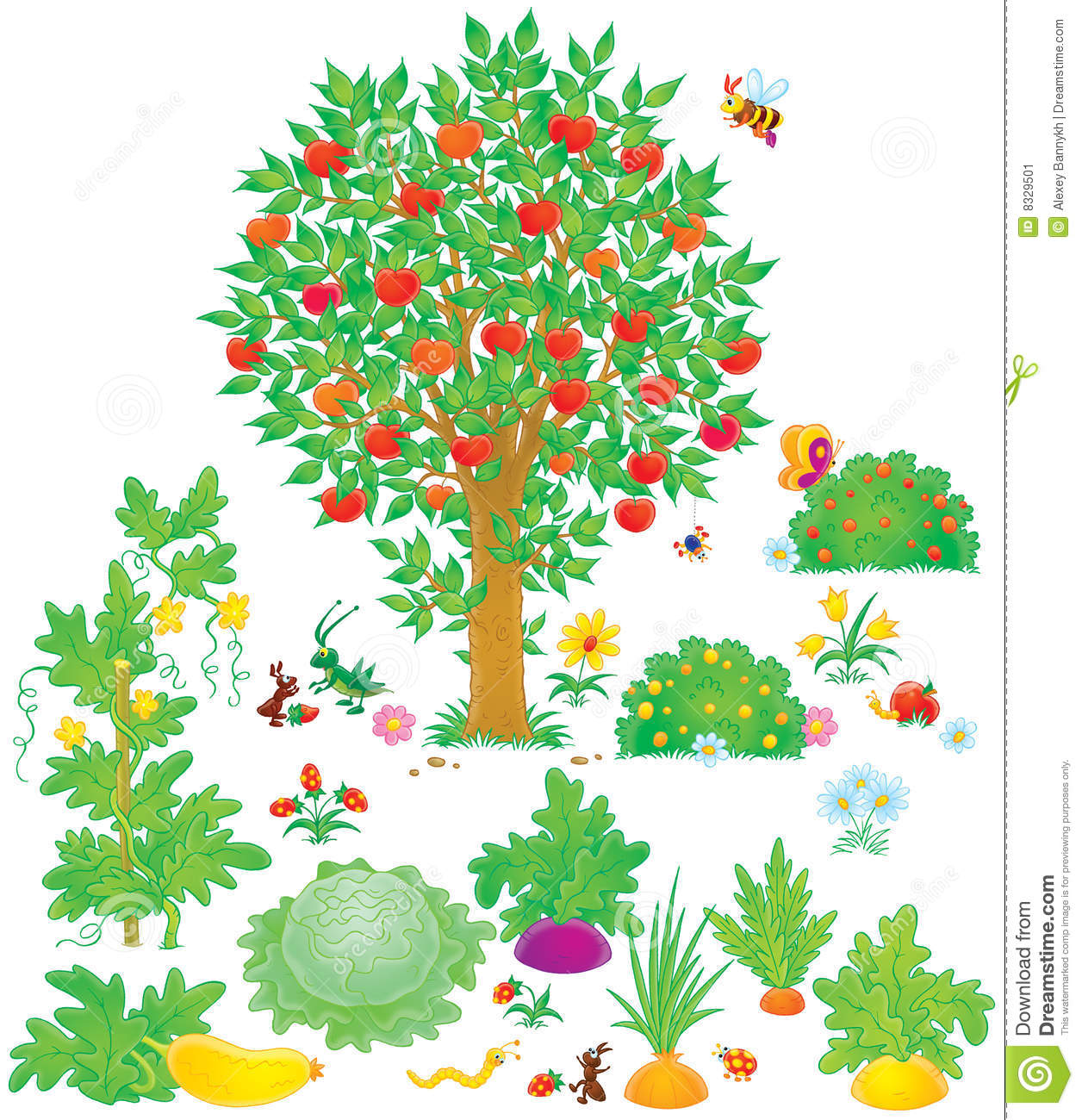 Vegetable garden kids drawing - Orchard And Vegetable Garden Stock Image Image 8329501