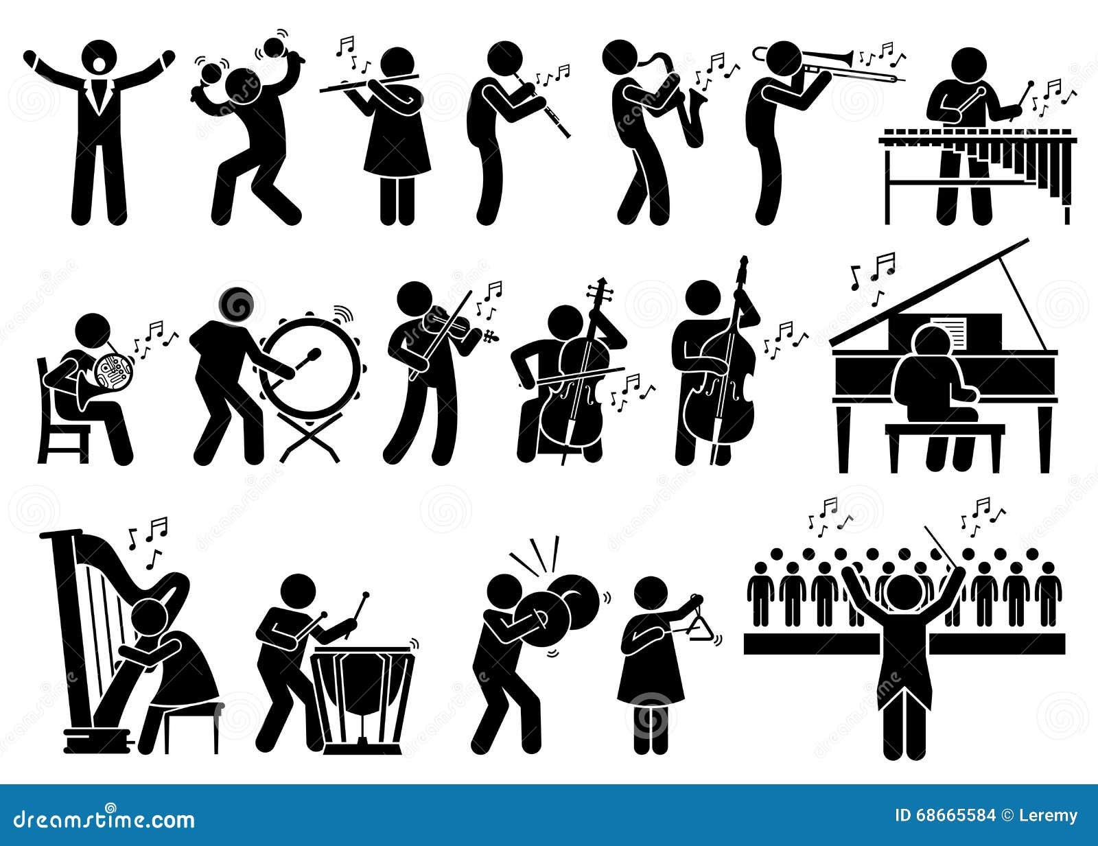 ... Abbildung: Orchester-Symphonie-Musiker mit Musikinstrumenten Clipart