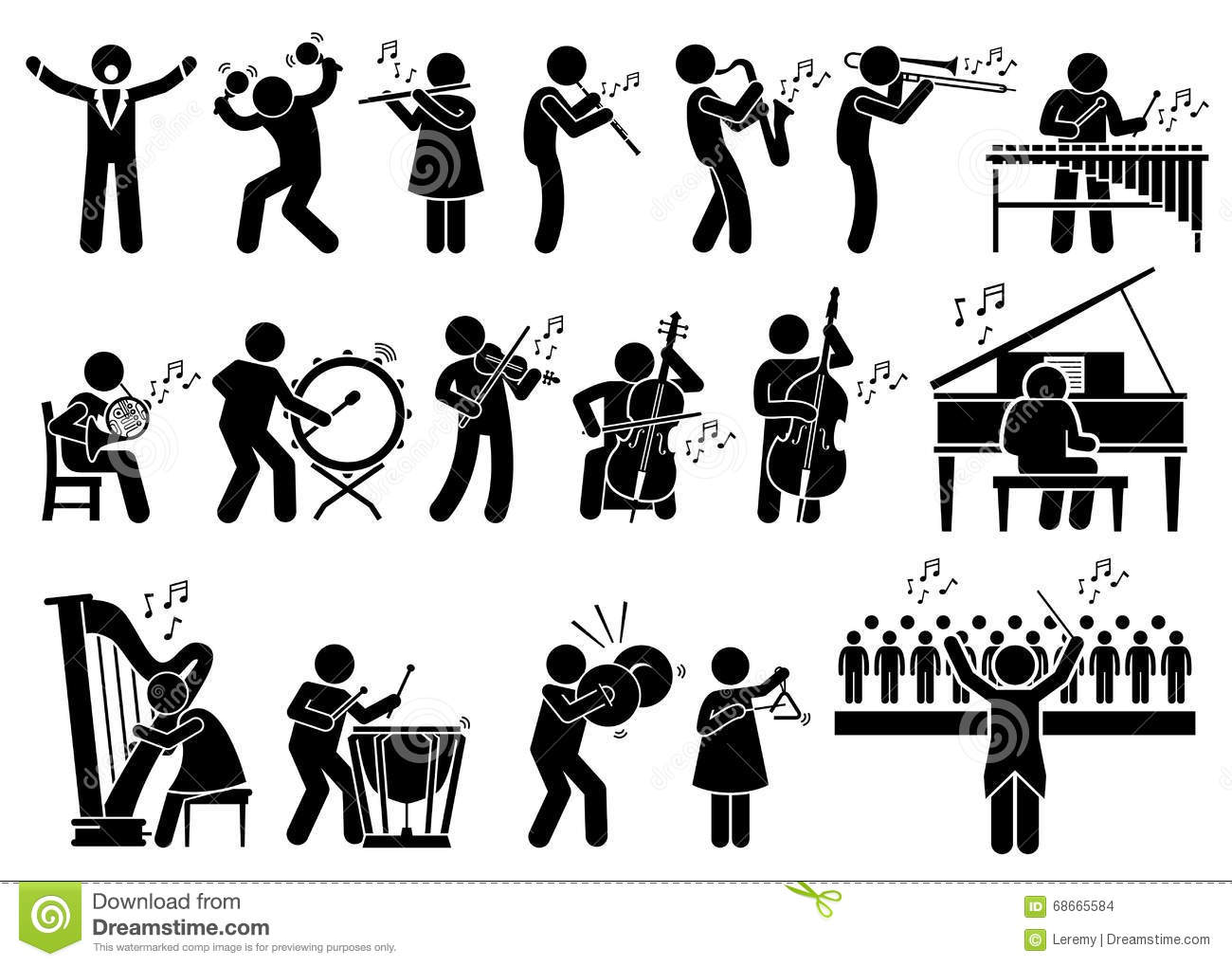 ... , conductor, harp, oboe, xylophone, viola, double bass, French horn