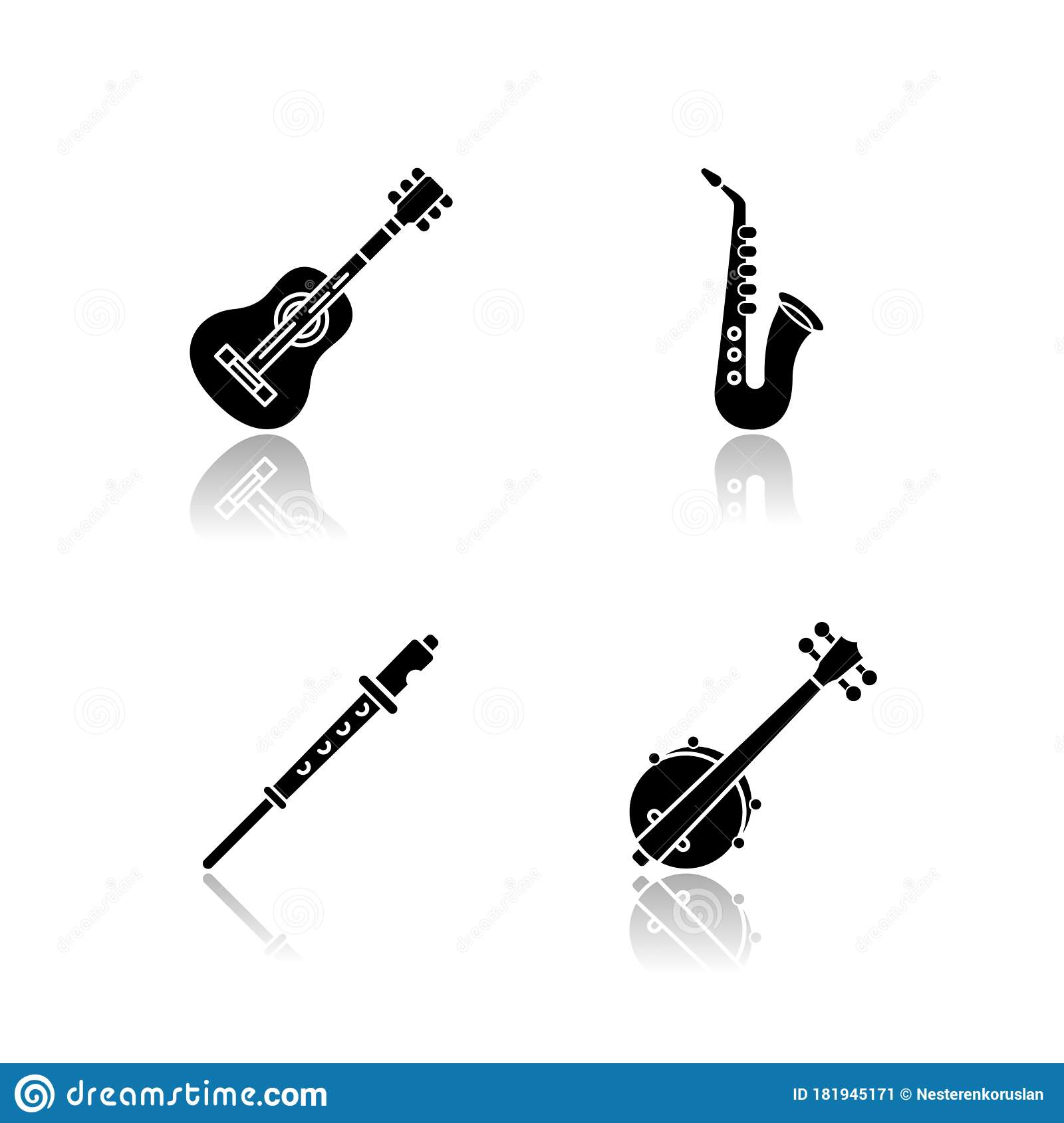 Orchestral Musical Instruments Drop Shadow Black Glyph Icons Set Stock Vector Illustration Of Live Country 181945171
