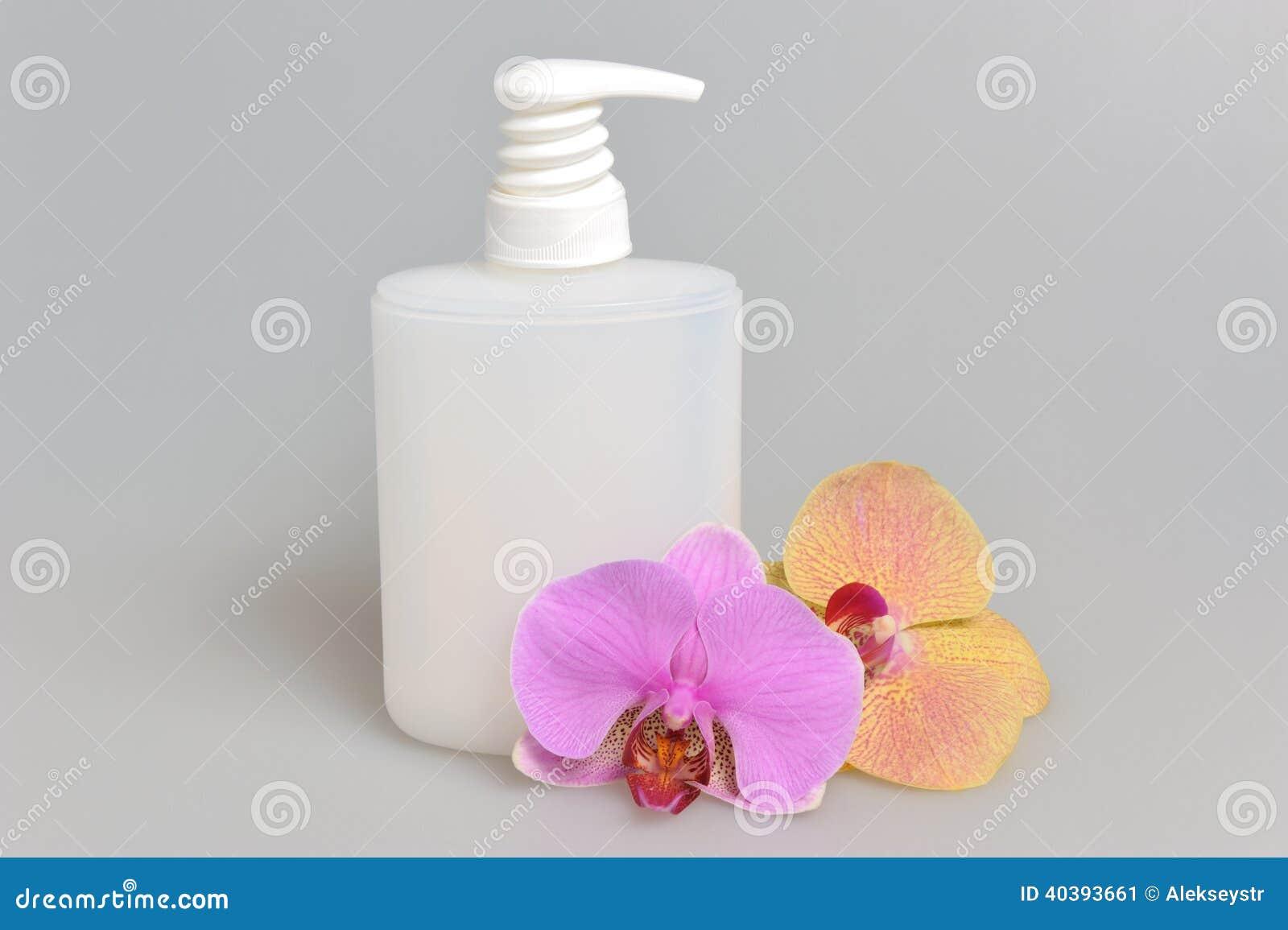 Orchidée en plastique de bouteille de pompe de distributeur de gel intime ou de savon liquide