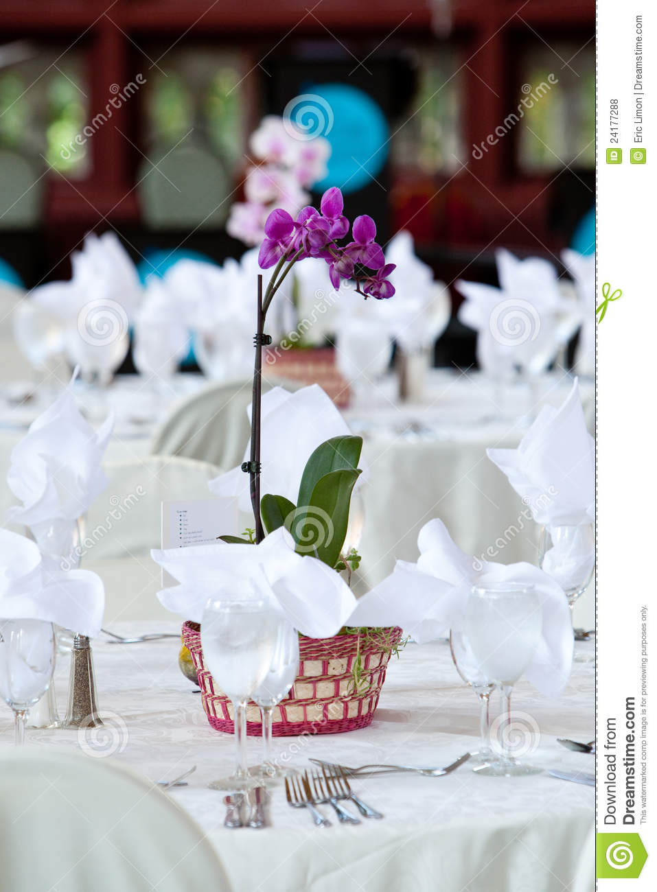 Orchid centerpiece on wedding tables stock photo image