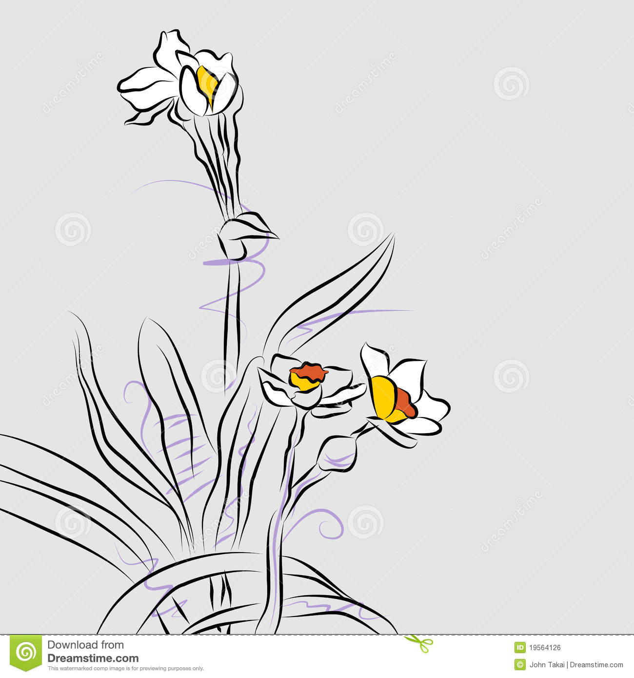 Orchid Flower Line Drawing : Orchid flower arrangement line drawing royalty free stock