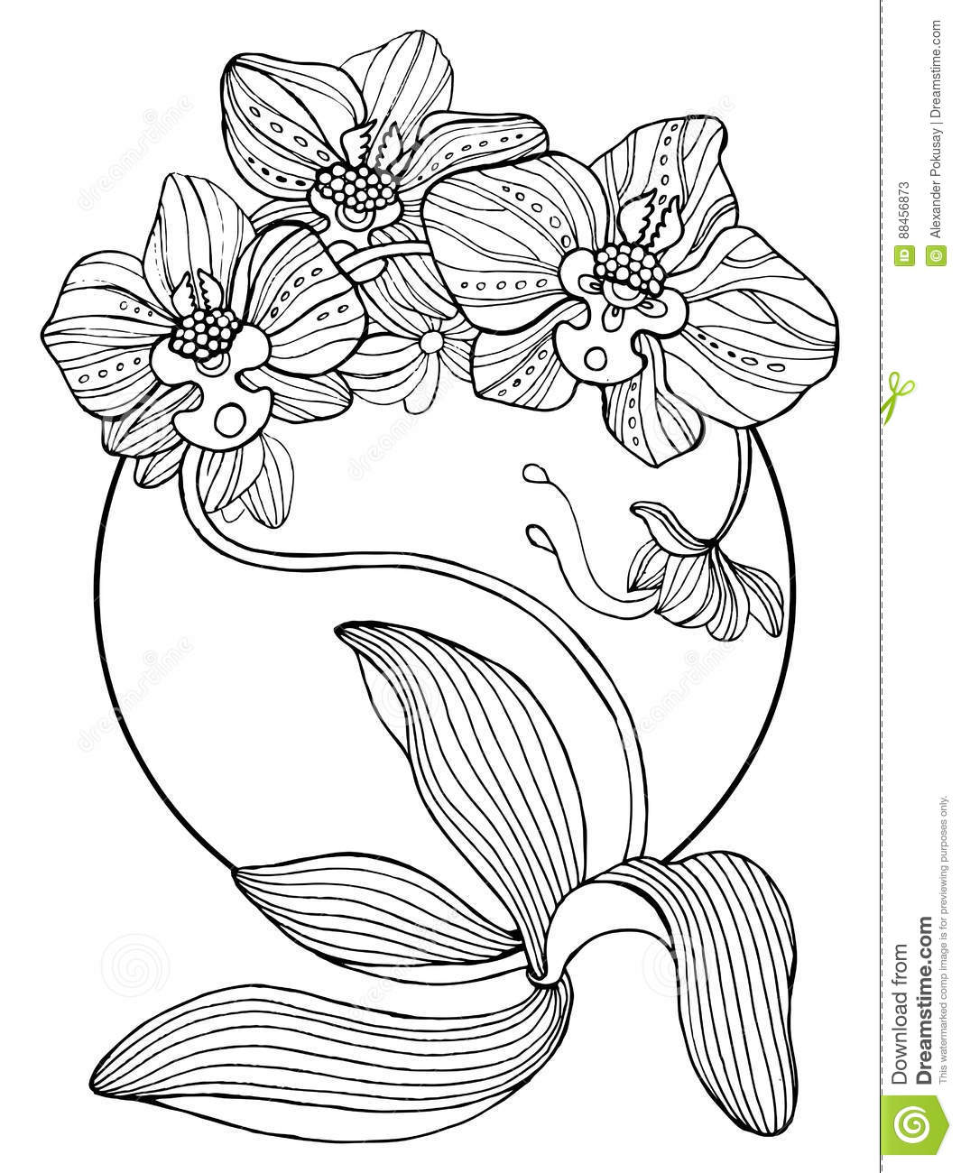 Orchid Flowers Coloring Book Vector Illustration Stock Vector ...