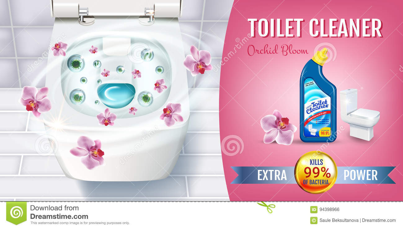 Orchid fragrance toilet cleaner gel ads. Vector realistic Illustration with top view of toilet bowl and disinfectant container. Ho