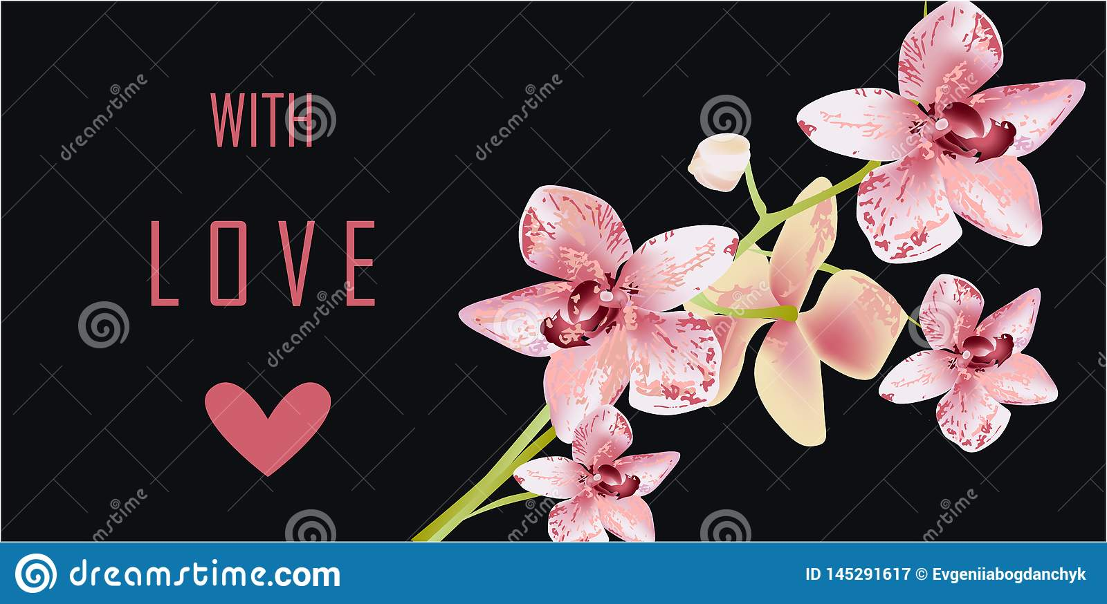 Orchid Greeting Card, vector illustration love romantic