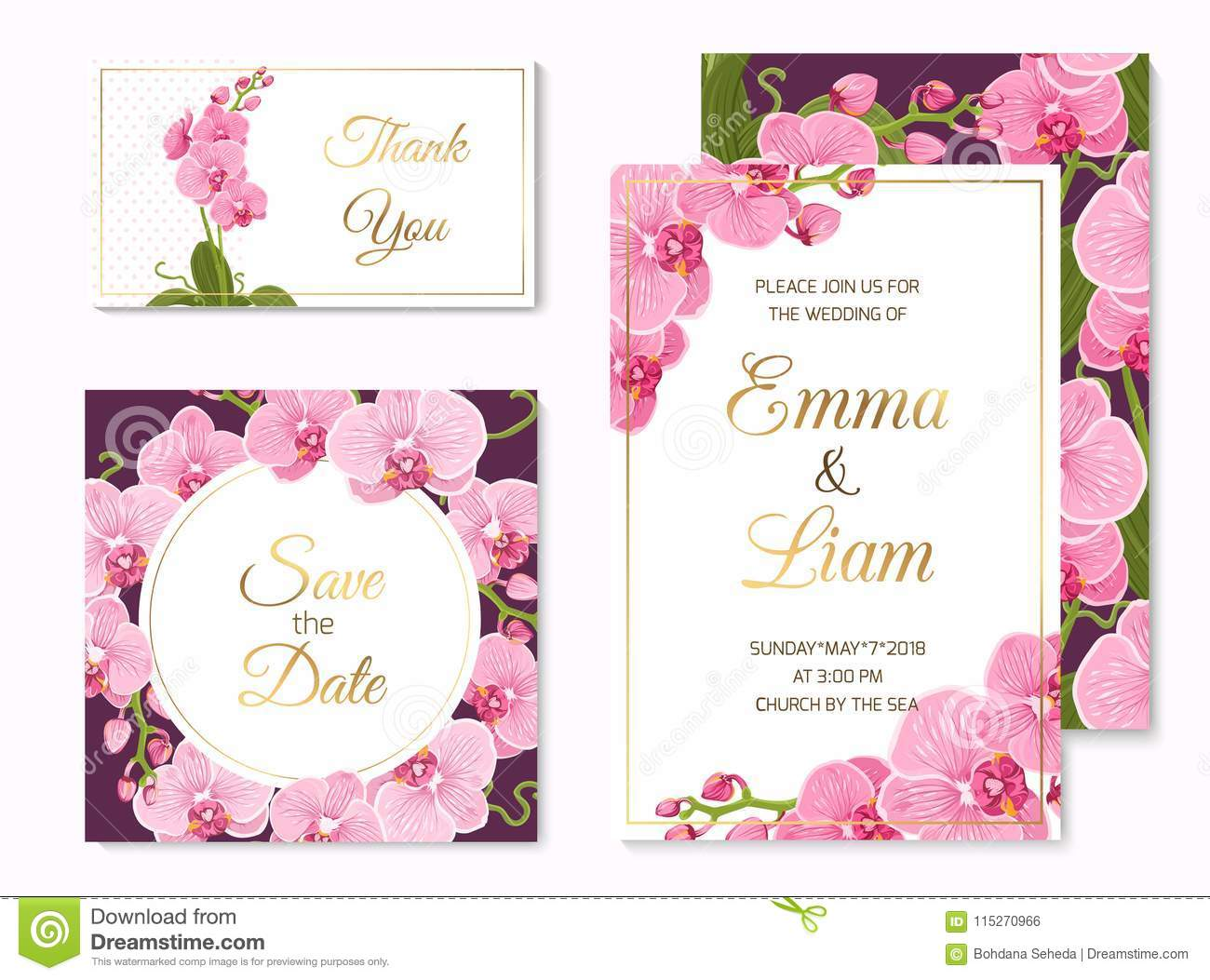 Orchid Phalaenopsis Wedding Cards Template Set Stock Vector ...