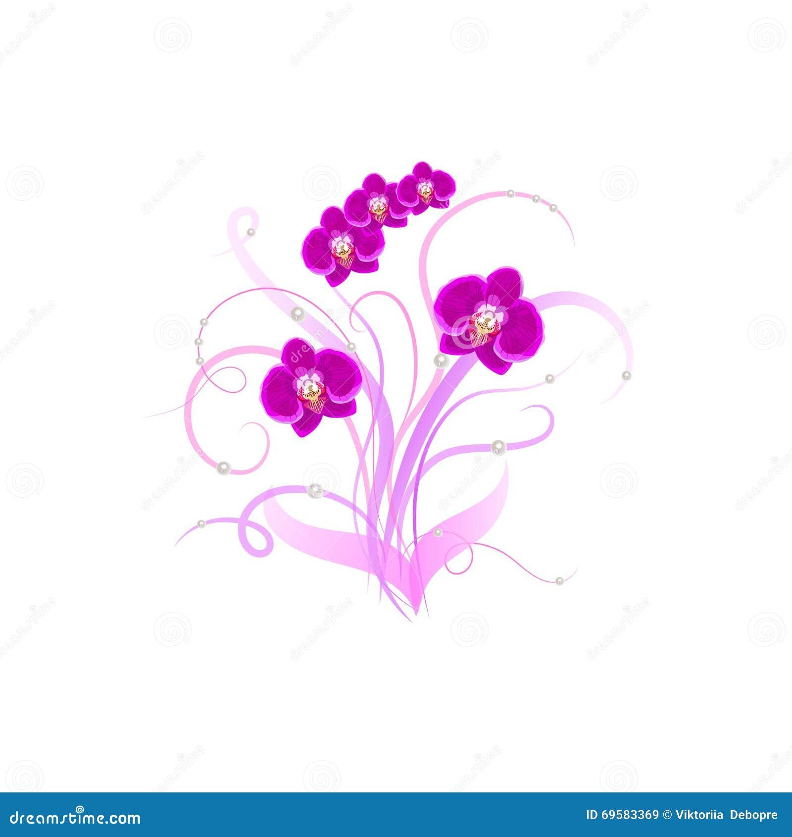 Orchidea decorativa di porpora del mazzo illustrazione for Progetti di costruzione del mazzo