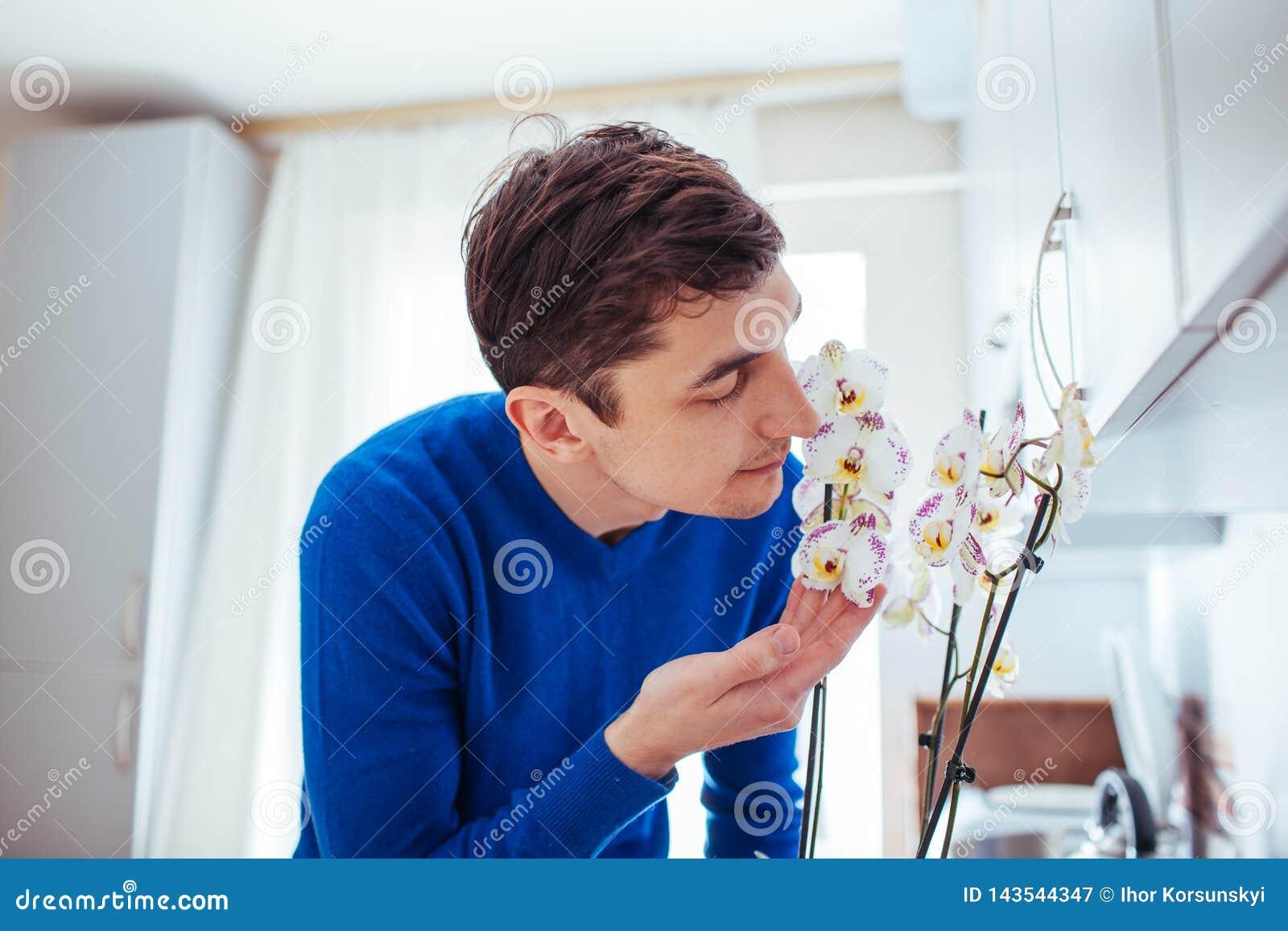 Orchidea di fiuto del giovane in cucina a casa