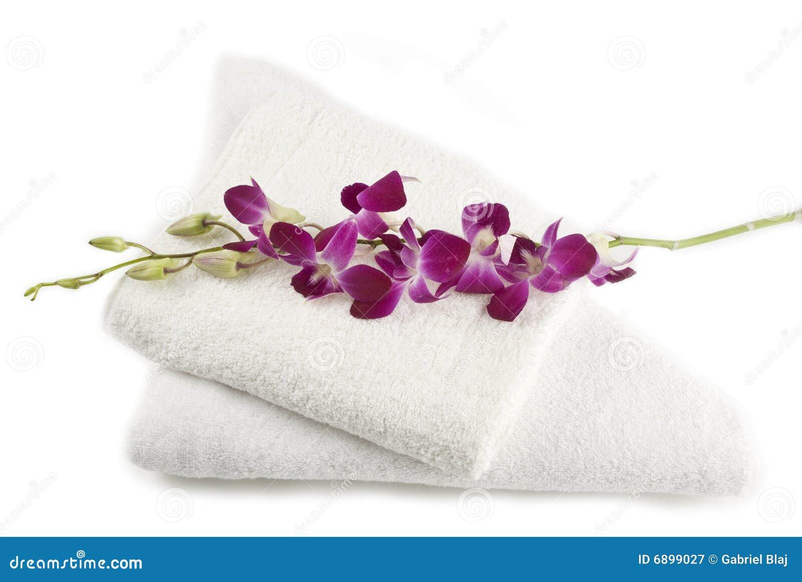 Orchidee op handdoeken