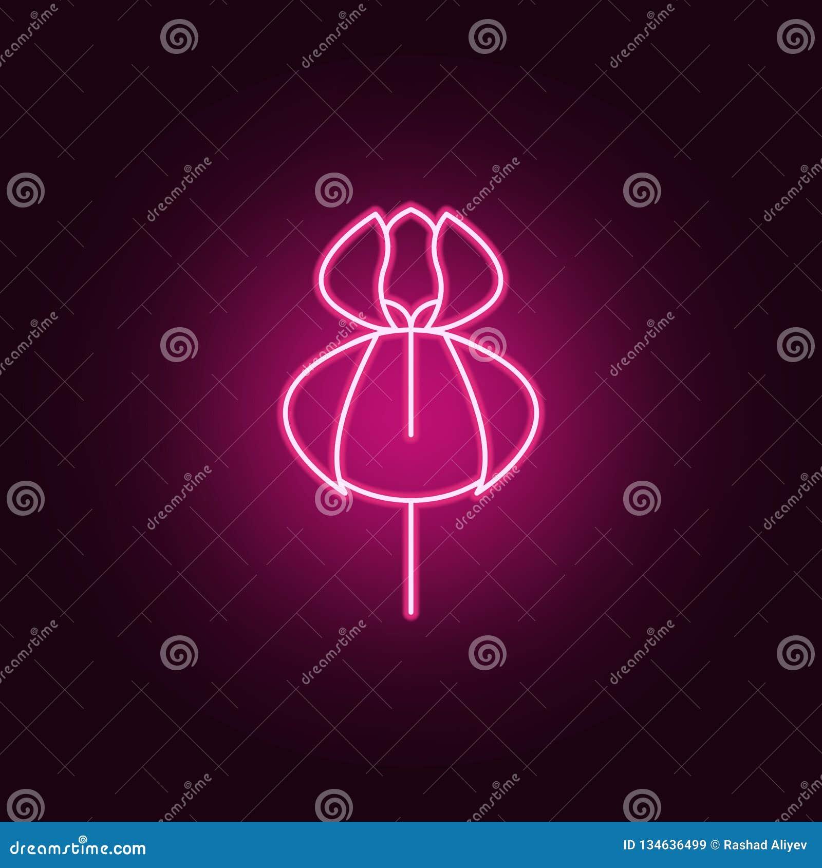Orchideepictogram Elementen van bladeren en bloemen in de pictogrammen van de neonstijl Eenvoudig pictogram voor websites, Webont