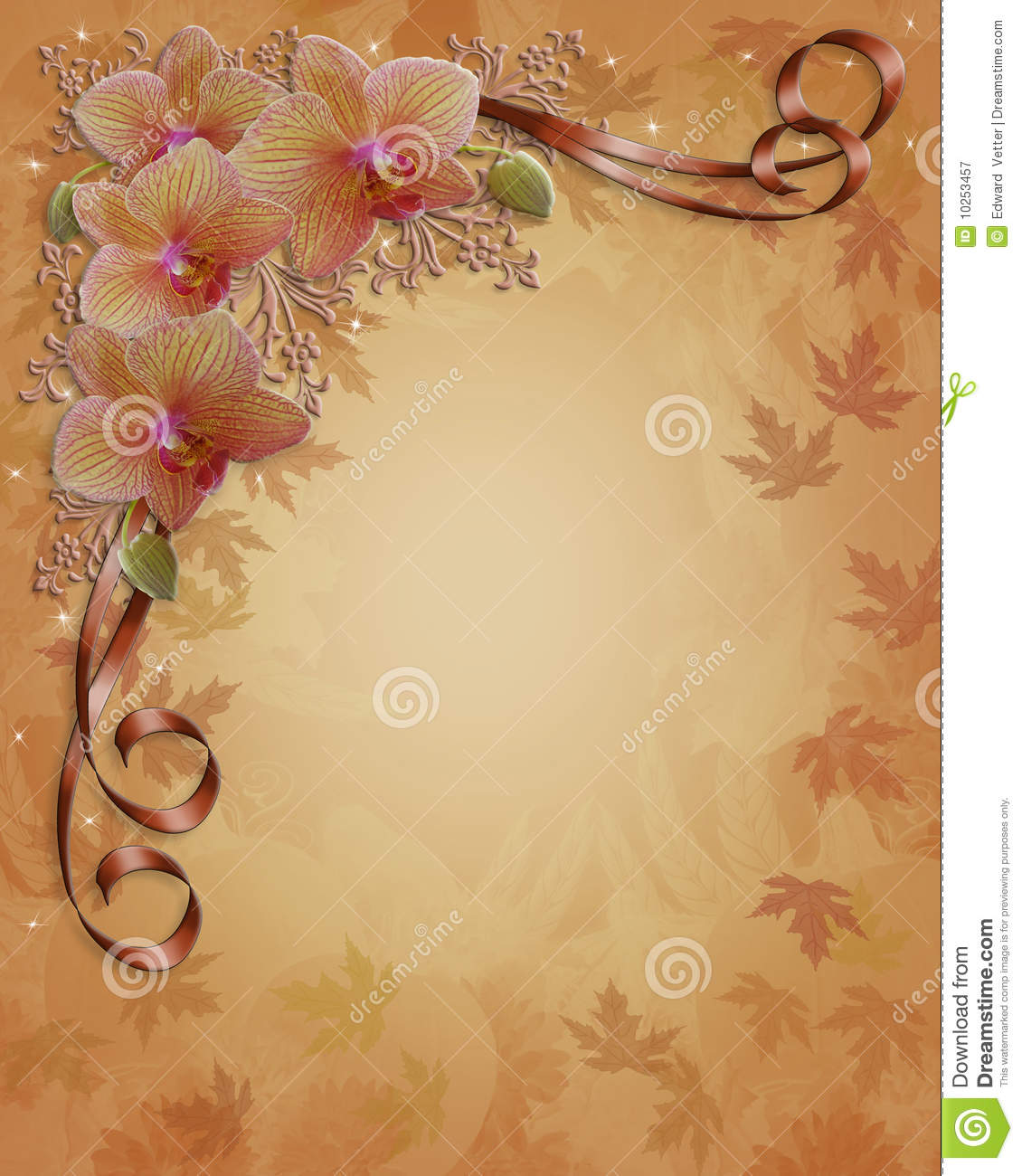 ... wedding invitation border, Thanksgiving or Autumn template with leaves