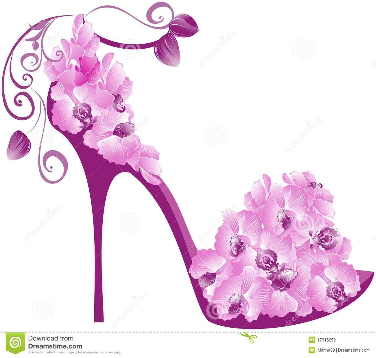 Orchids High Heel. Vector Stock Photography - Image: 17916052
