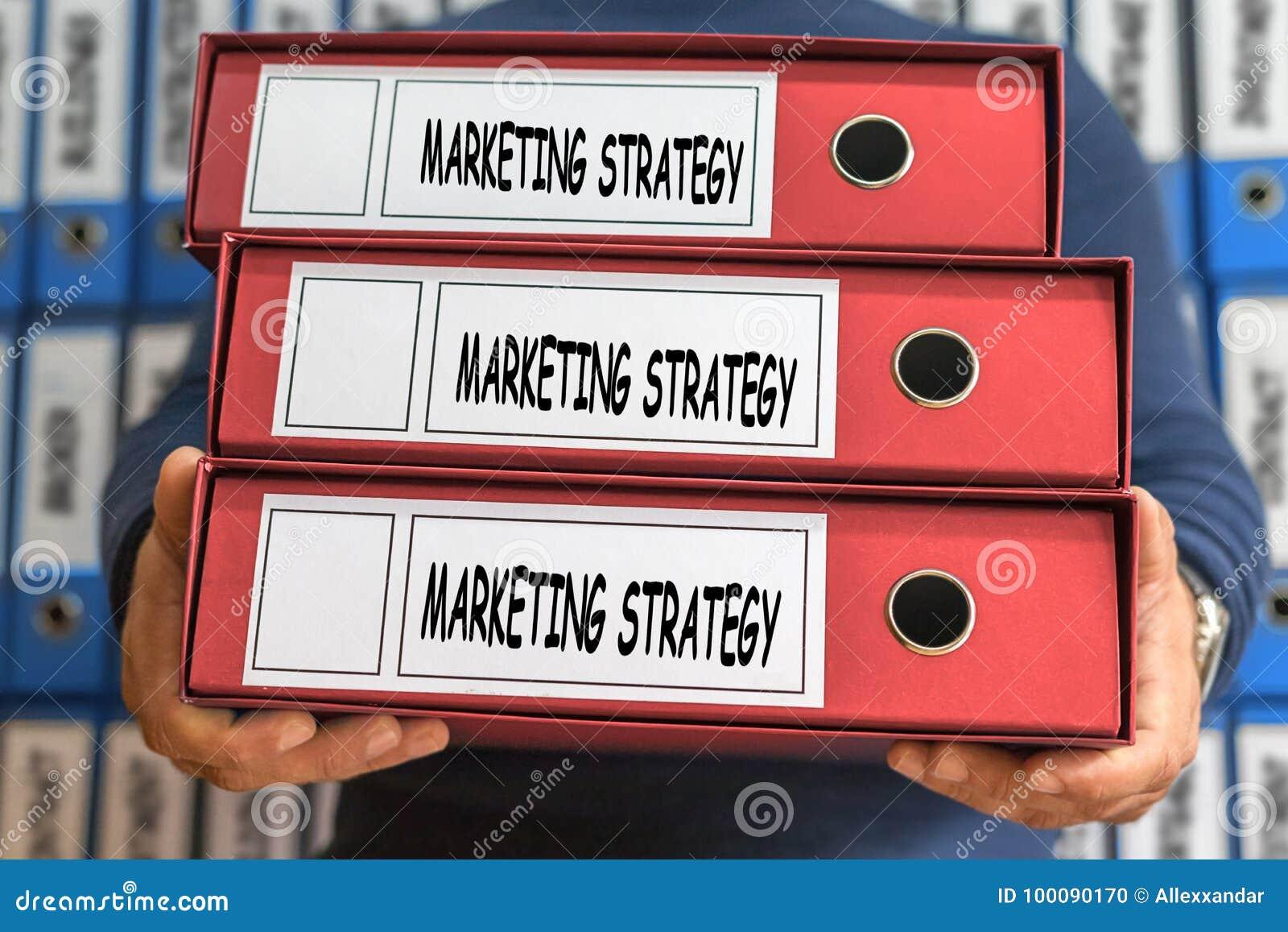 Ord för begrepp för marknadsföringsstrategi framförd mappbild för begrepp 3d Ring Binders