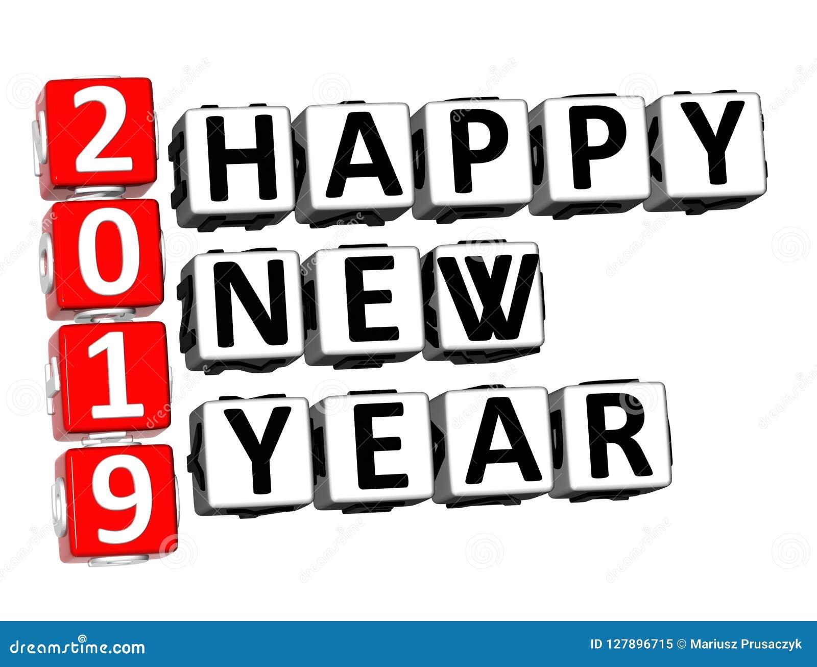 Ord för lyckligt nytt år för korsord 2019 för tolkning 3D över vita Backg